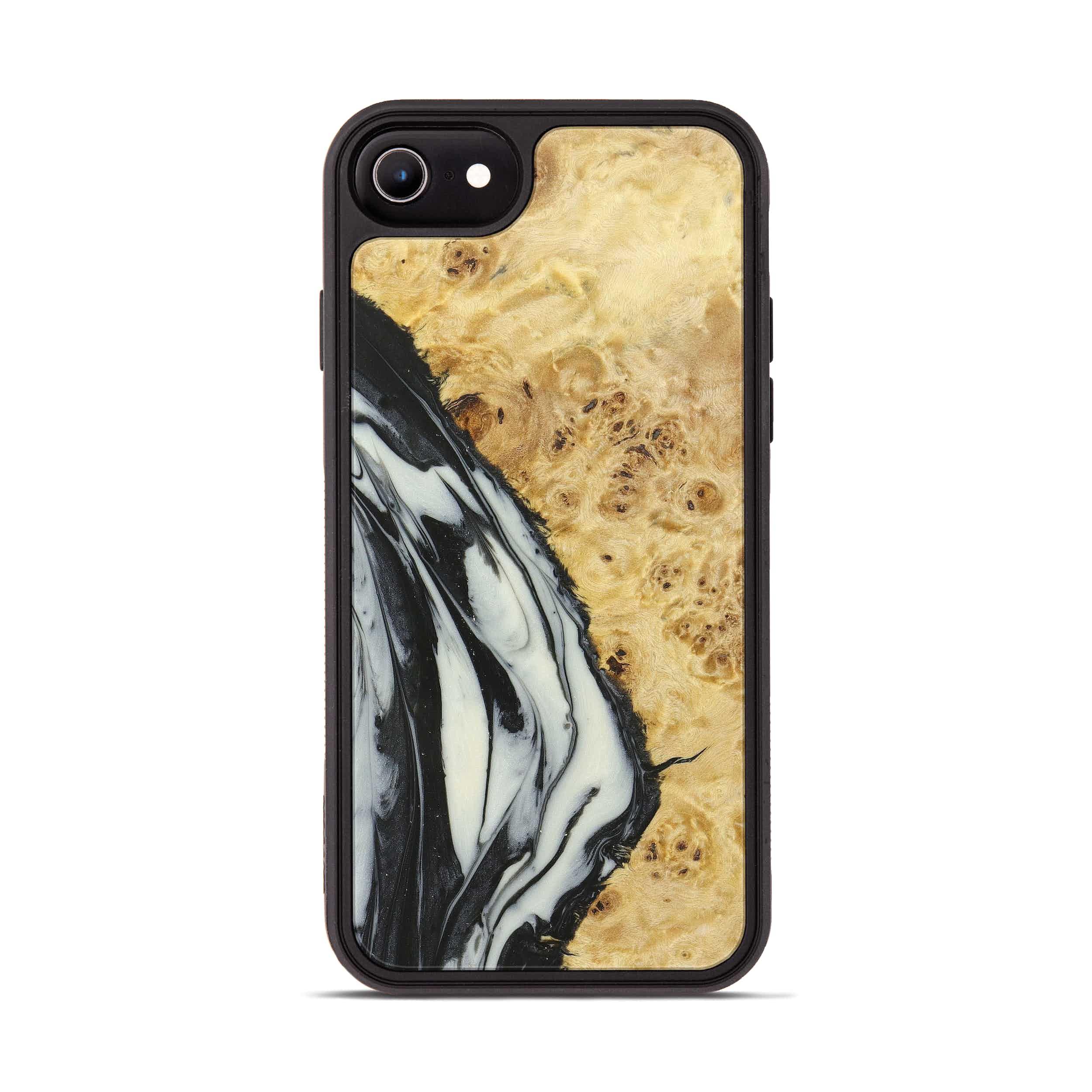 iPhone 8 Wood+Resin Phone Case - Deanne (Black & White, 358002)