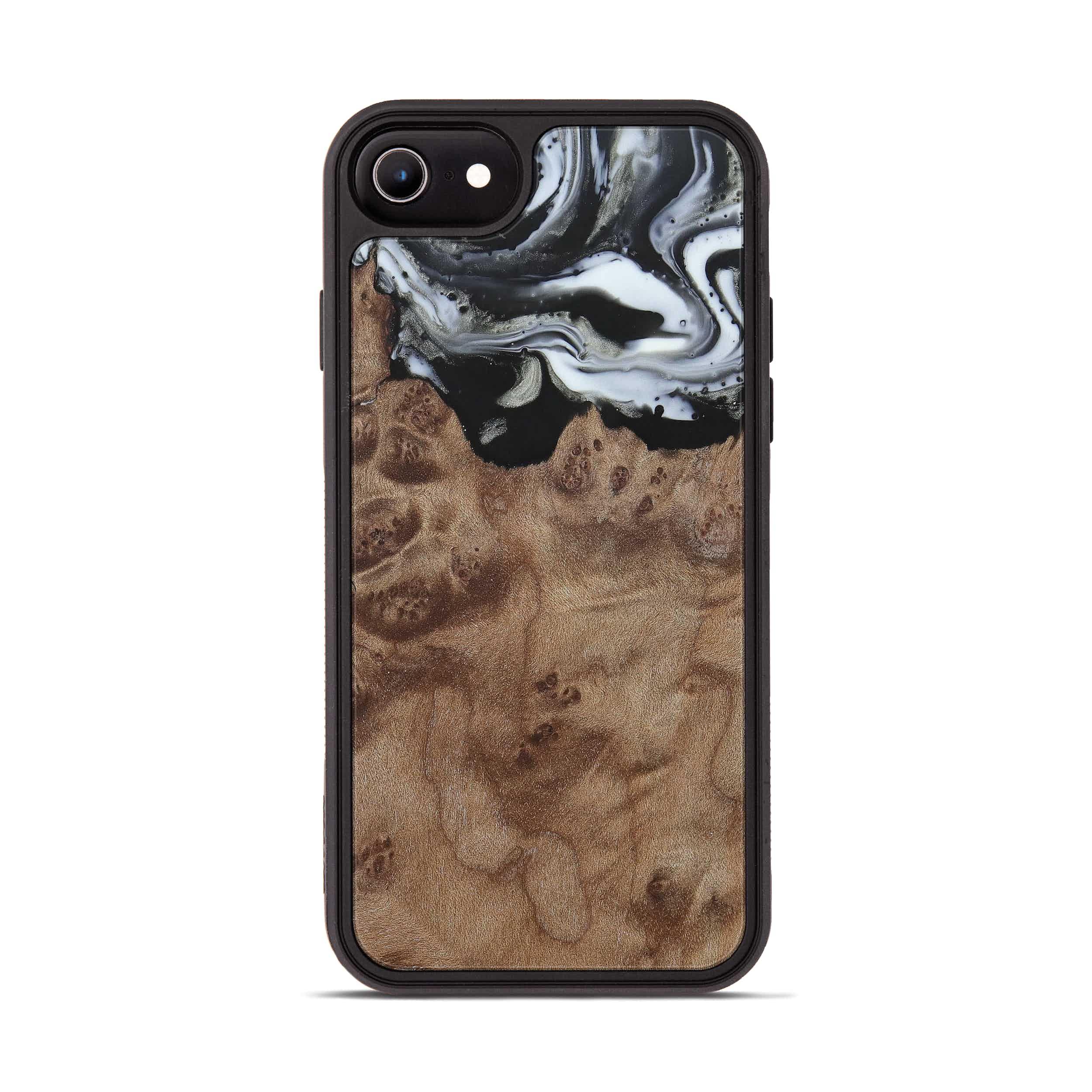iPhone 8 Wood+Resin Phone Case - Emmey (Black & White, 385906)