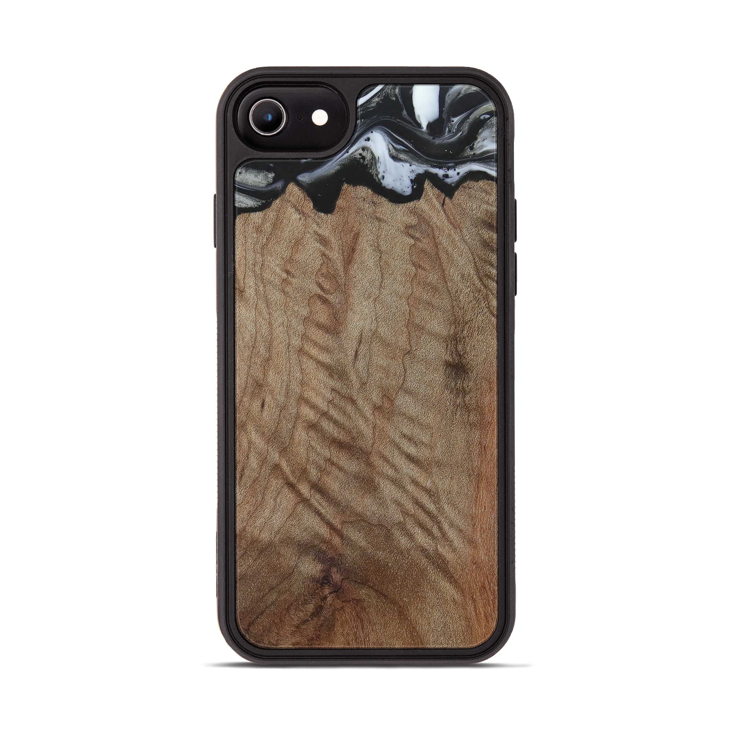 iPhone 8 Wood+Resin Phone Case - Kiem (Black & White, 385907)