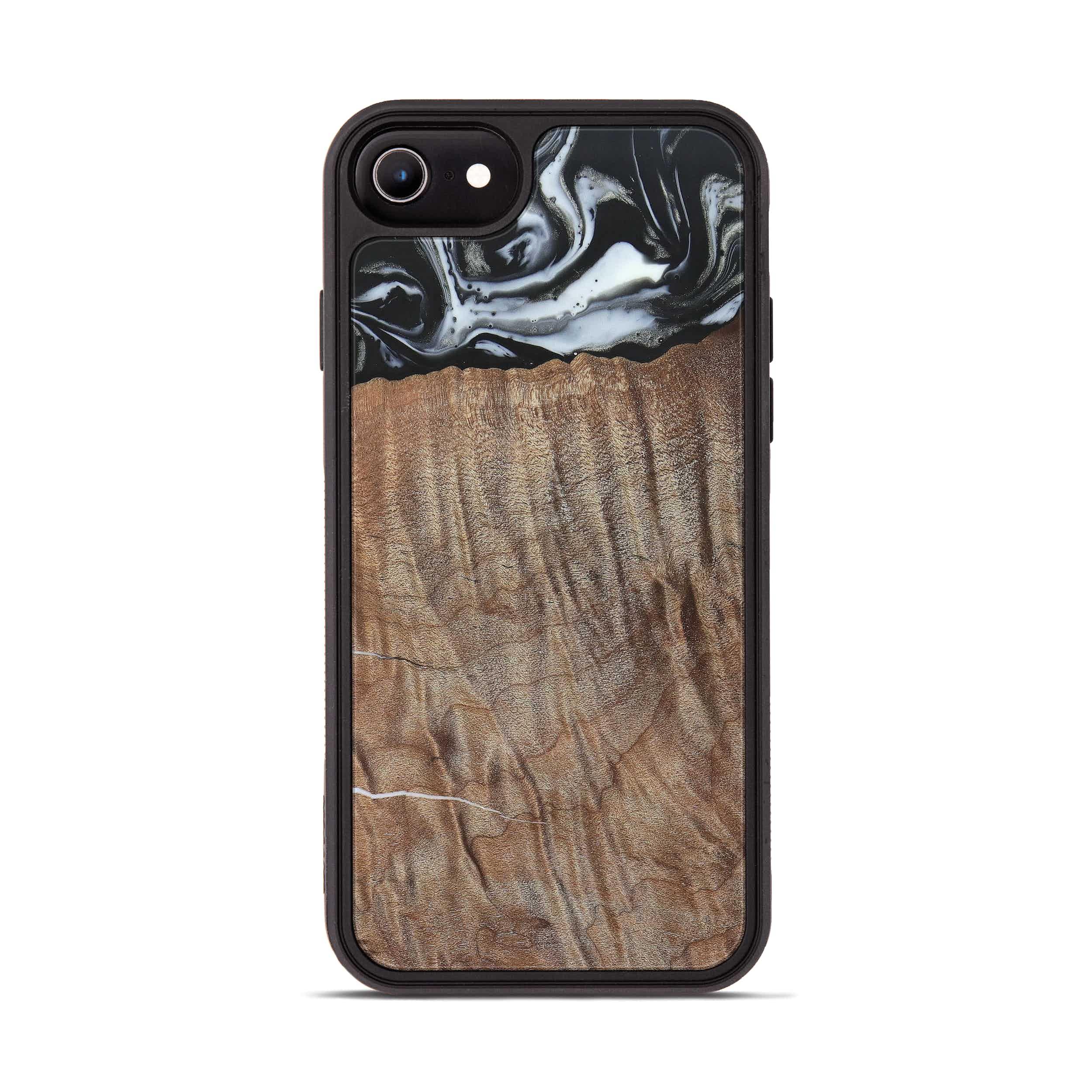 iPhone 8 Wood+Resin Phone Case - Gahn (Black & White, 385912)