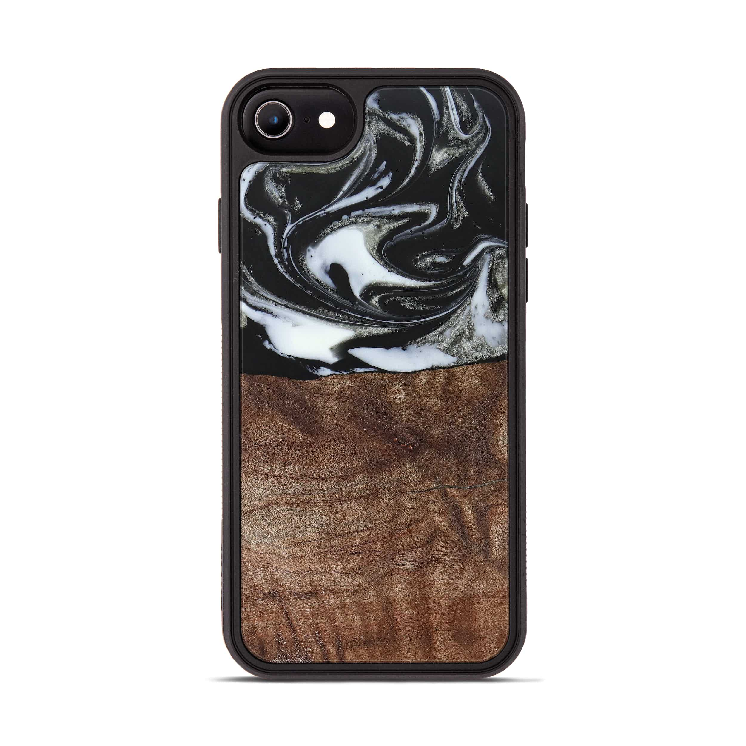 iPhone 8 Wood+Resin Phone Case - Issie (Black & White, 385924)