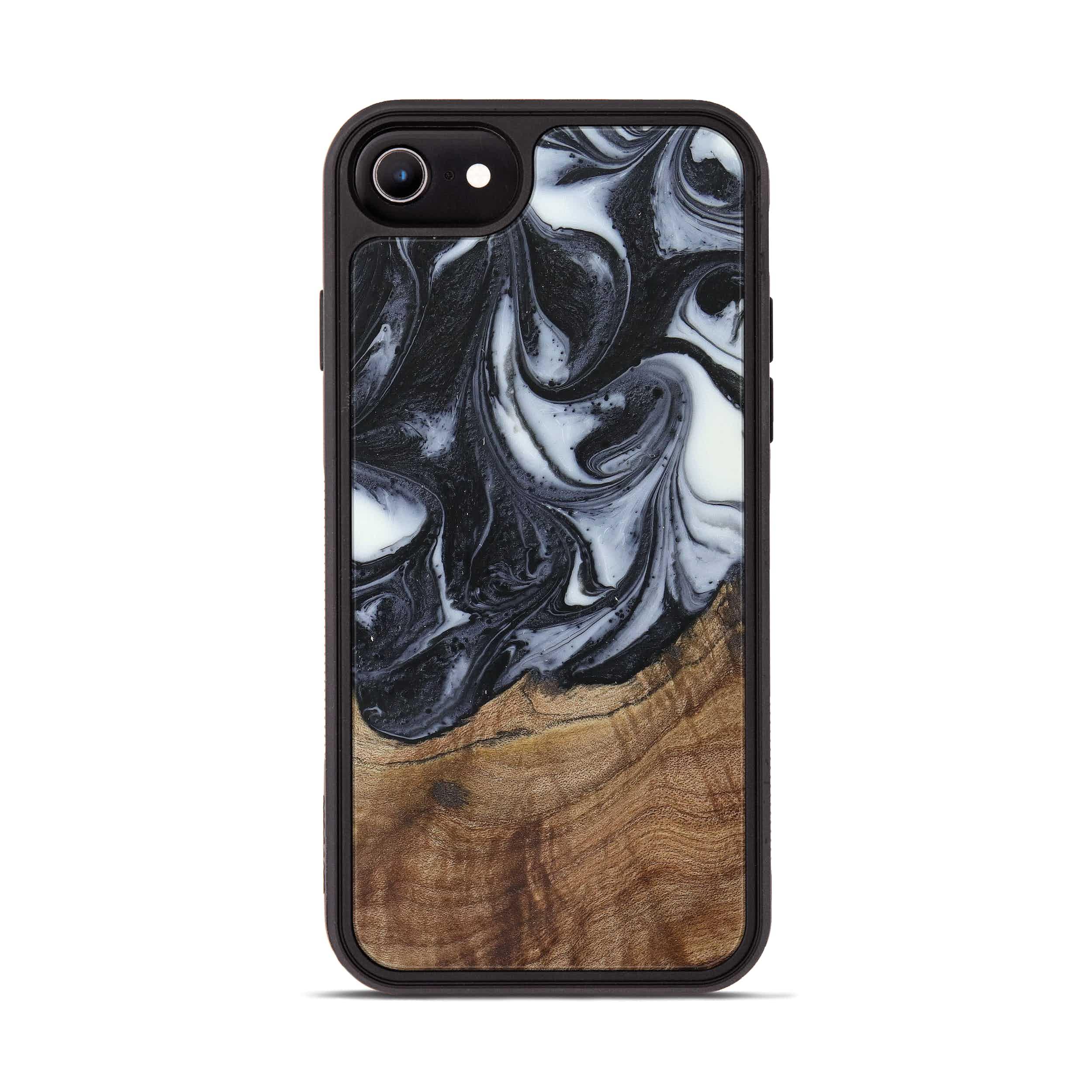 iPhone 8 Wood+Resin Phone Case - Christie (Black & White, 388765)