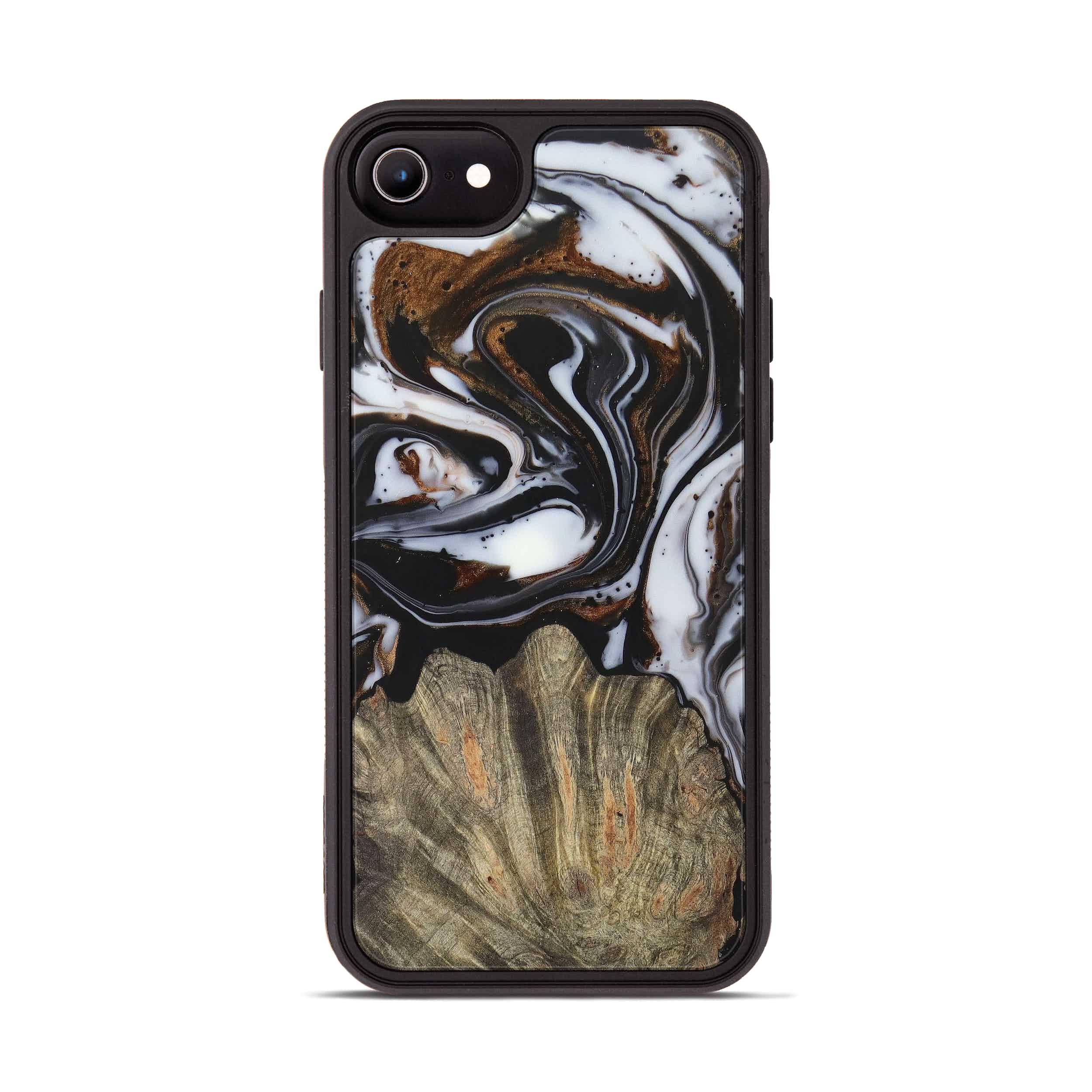 iPhone 8 Wood+Resin Phone Case - Lynnelle (Black & White, 390664)