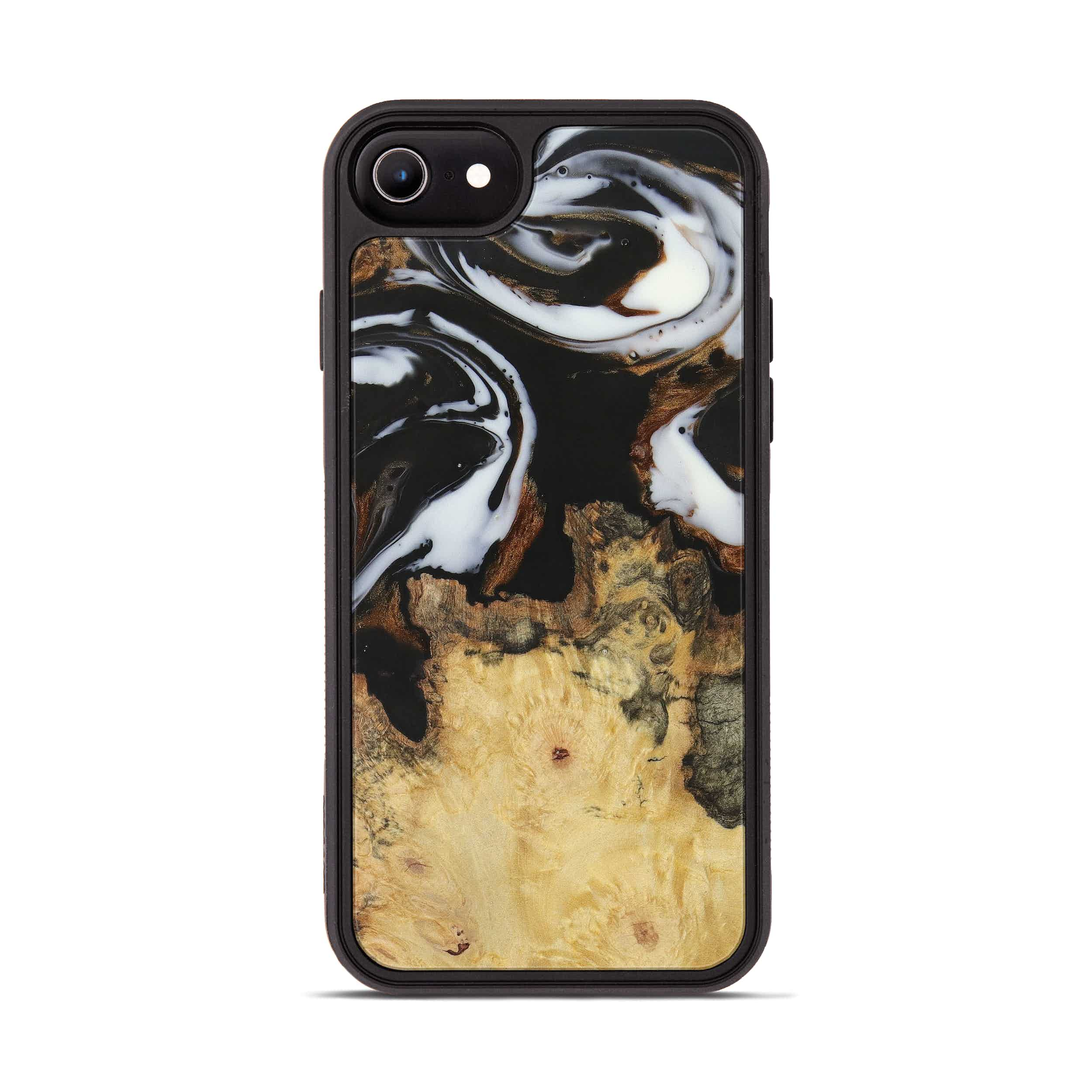 iPhone 8 Wood+Resin Phone Case - Cate (Black & White, 390667)