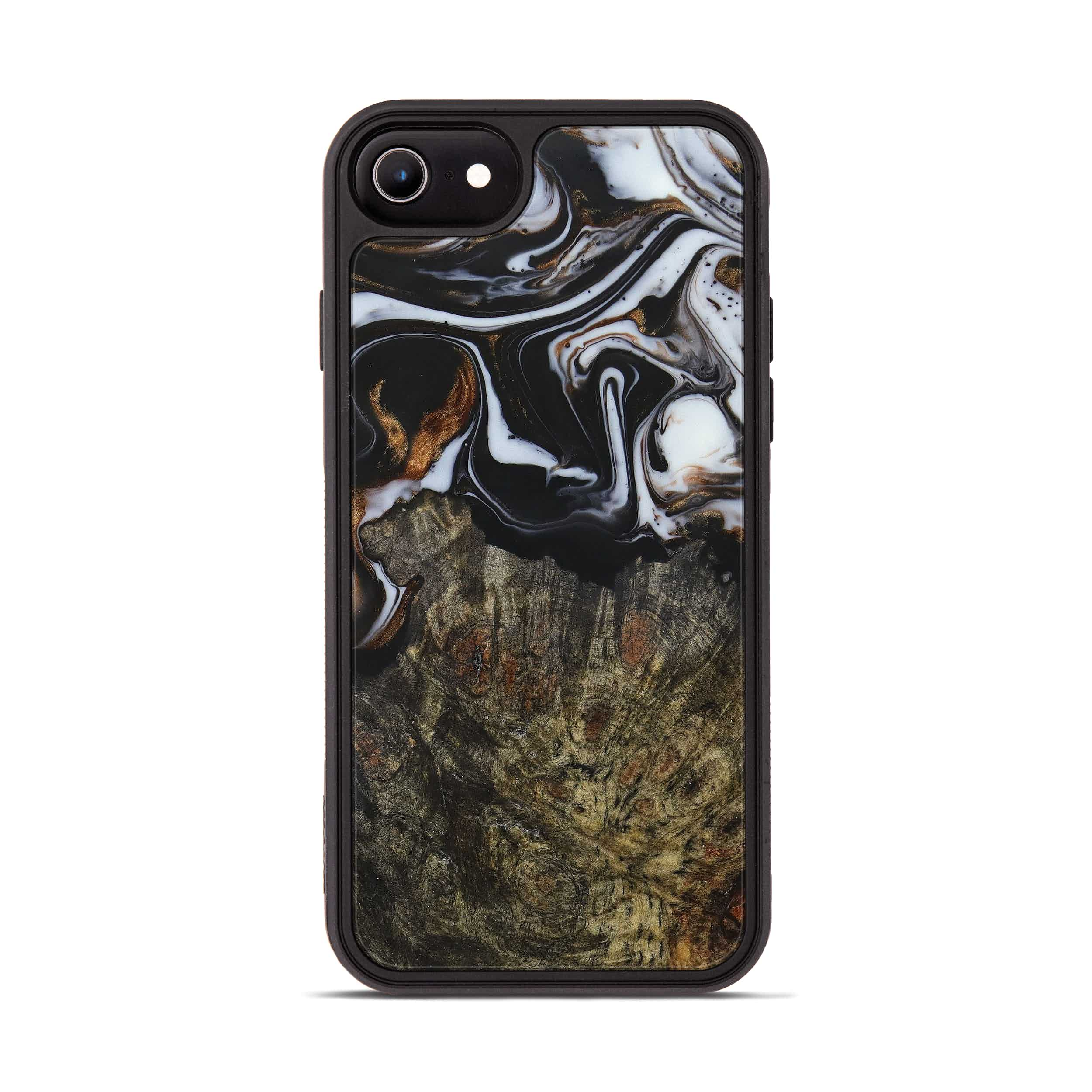 iPhone 8 Wood+Resin Phone Case - Nalani (Black & White, 390670)