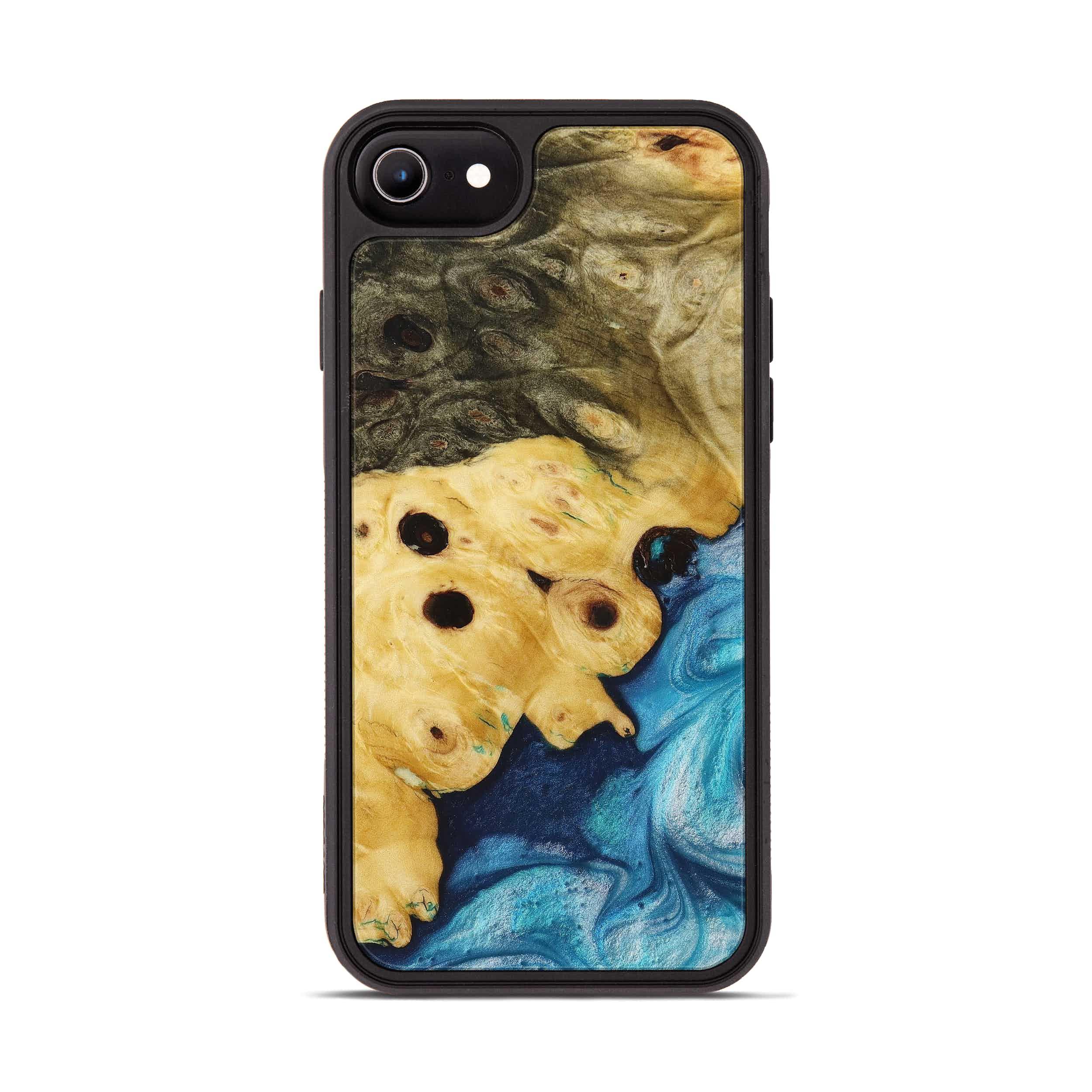 iPhone 8 Wood+Resin Phone Case - Agnella (Light Blue, 394205)