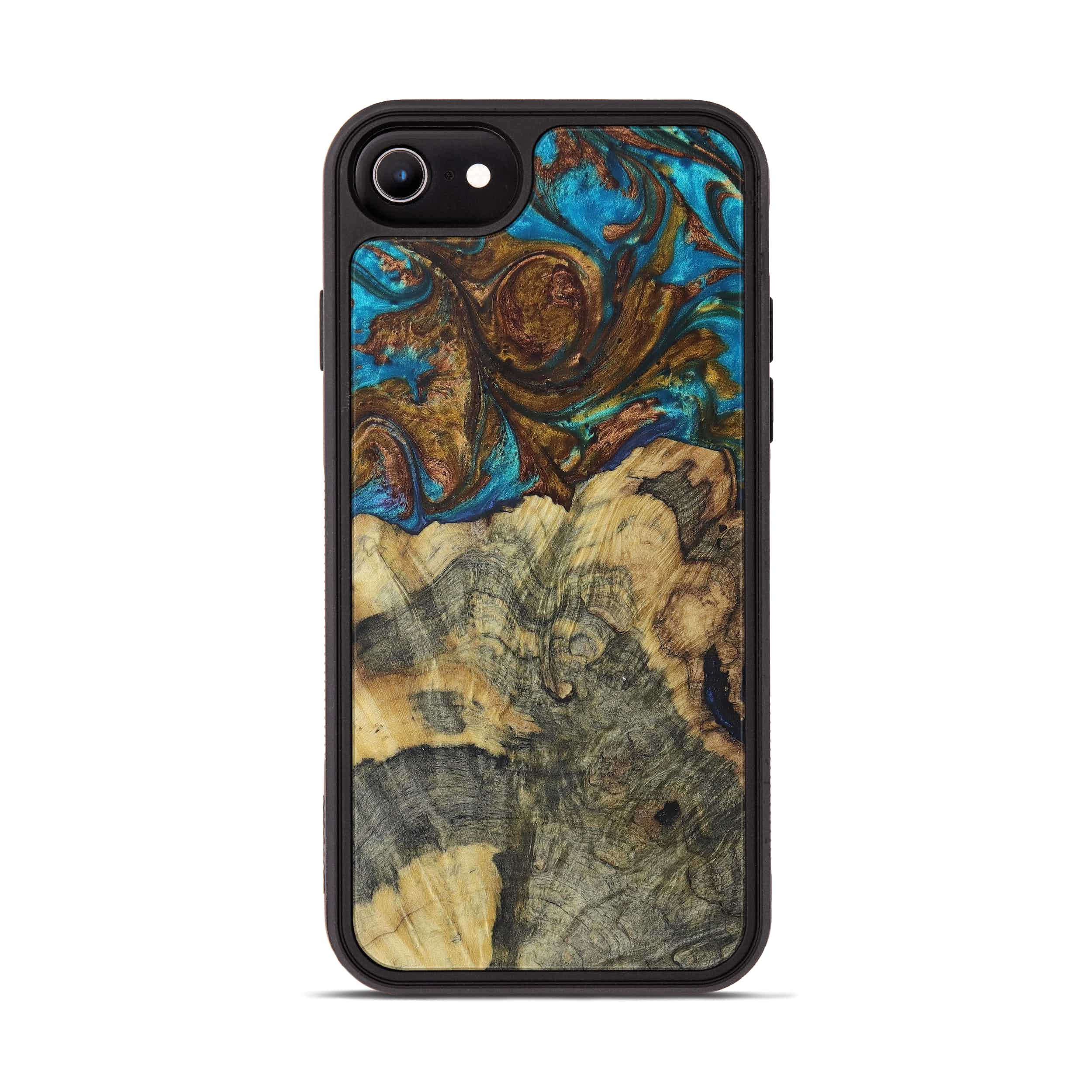 iPhone 6s Wood+Resin Phone Case - Janeta (Teal & Gold, 394240)