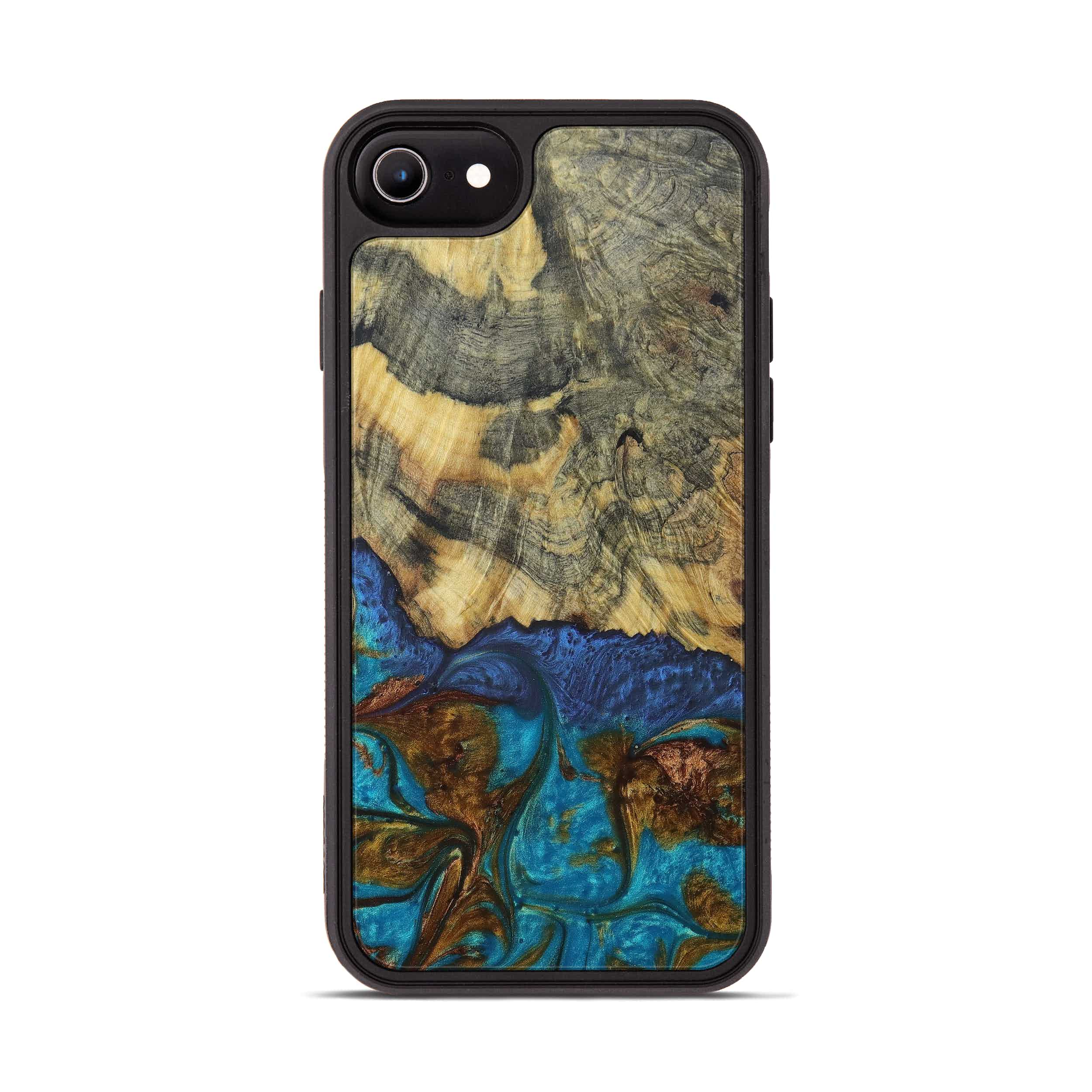 iPhone 8 Wood+Resin Phone Case - Seang (Teal & Gold, 394244)