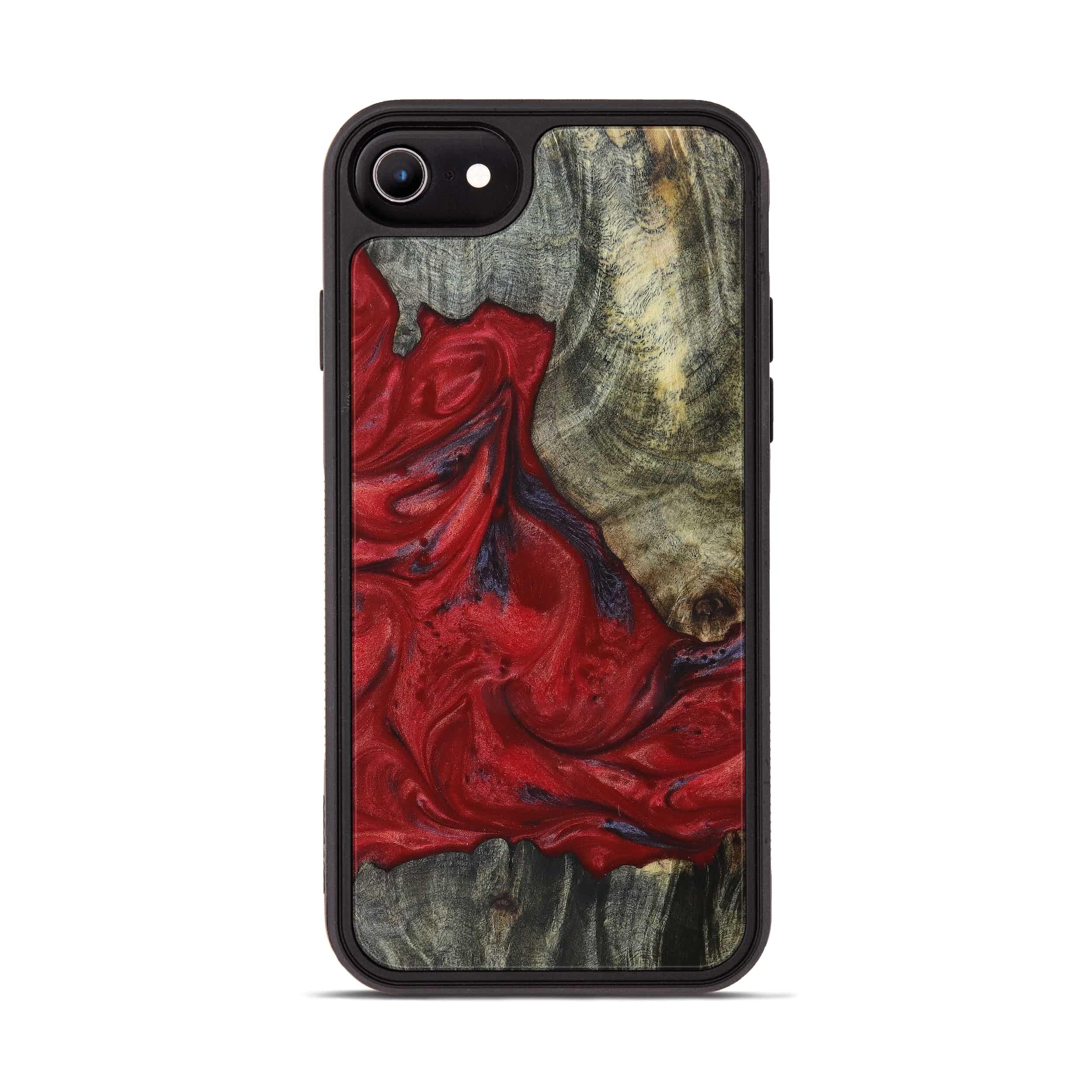 iPhone 8 Wood+Resin Phone Case - Tera (Dark Red, 394327)