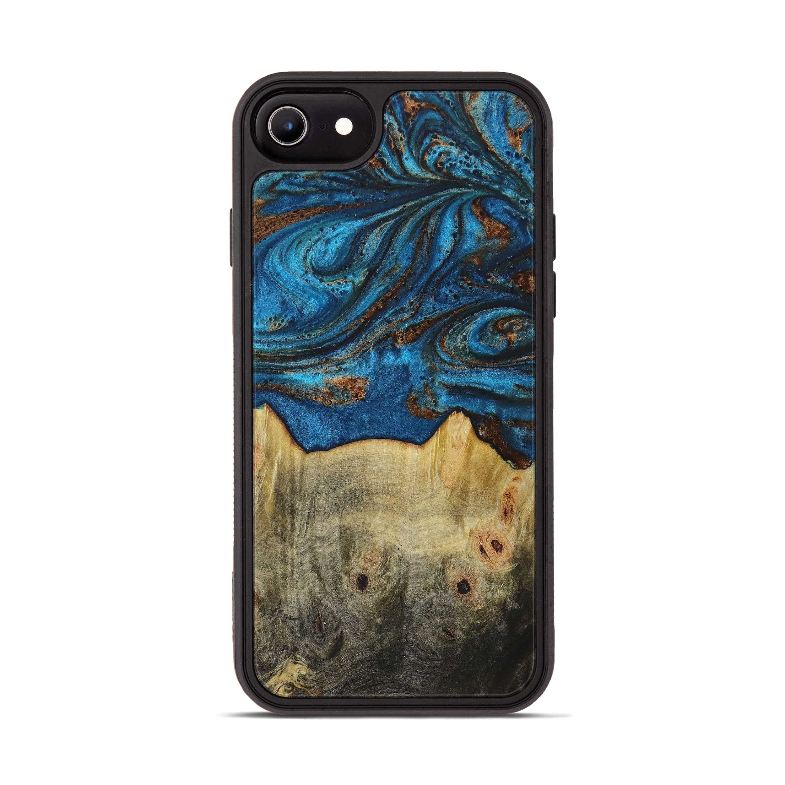 iPhone 8 Wood+Resin Phone Case - Jaffer (Teal & Gold, 394366)