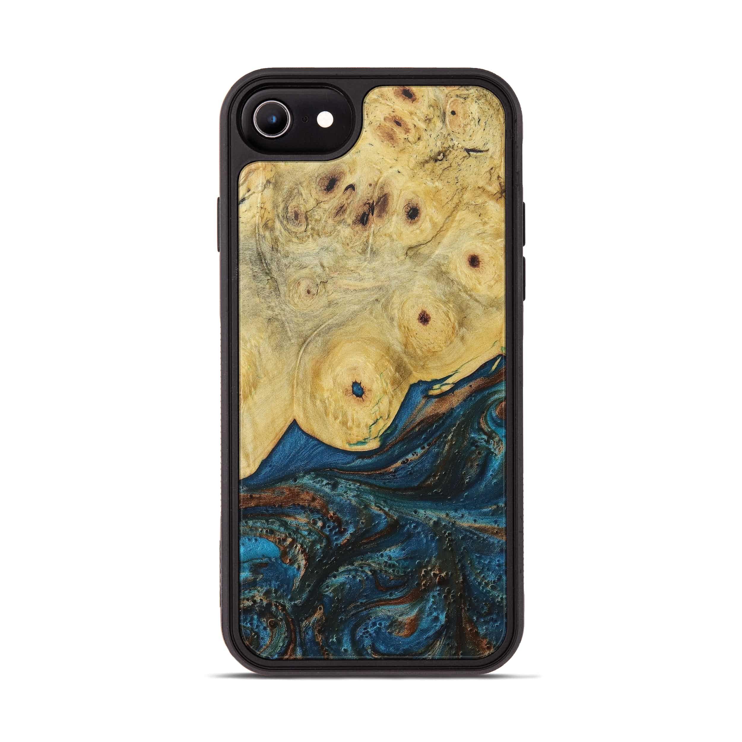 iPhone 8 Wood+Resin Phone Case - Mats (Teal & Gold, 394367)