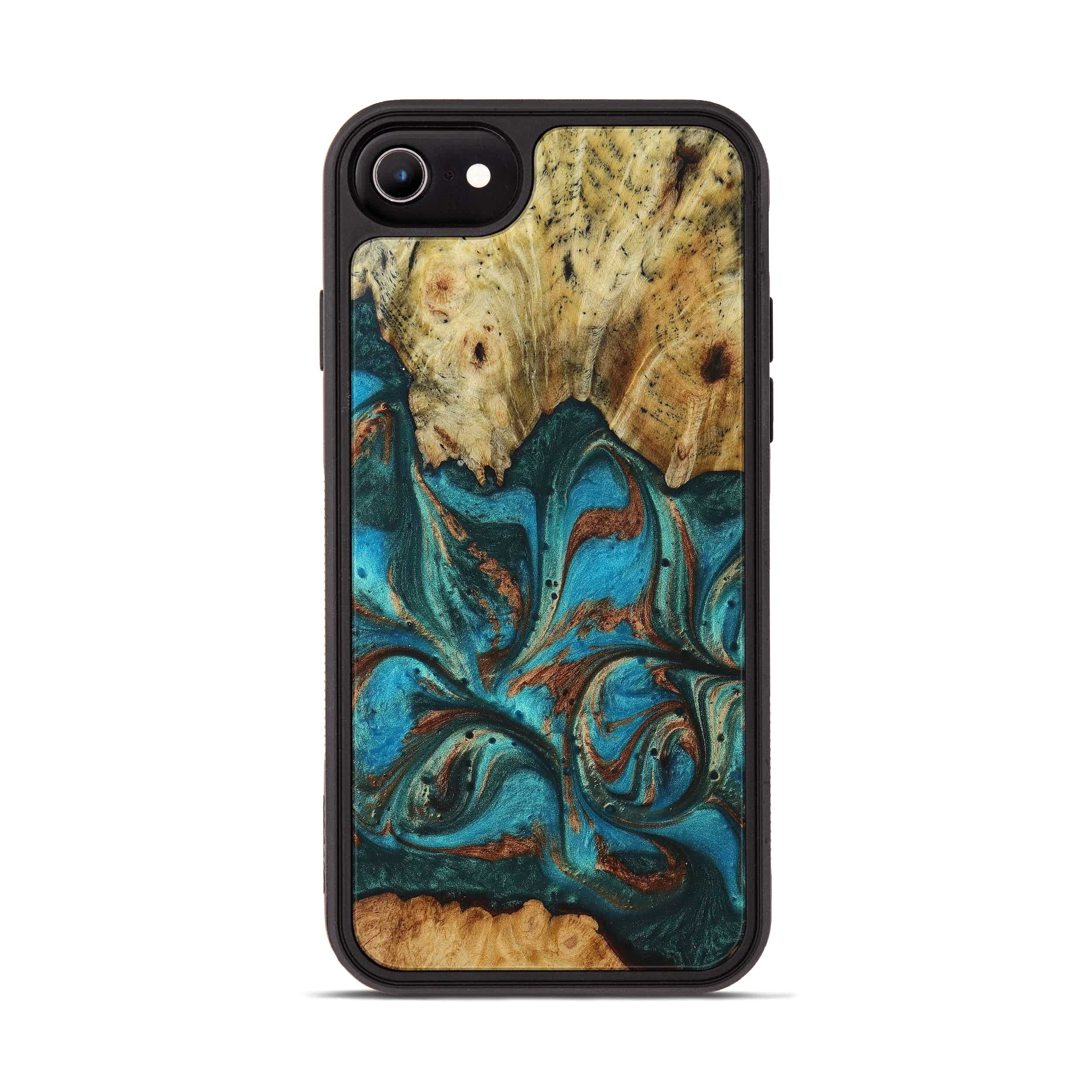 iPhone 8 Wood+Resin Phone Case - Poulos (Teal & Gold, 394382)