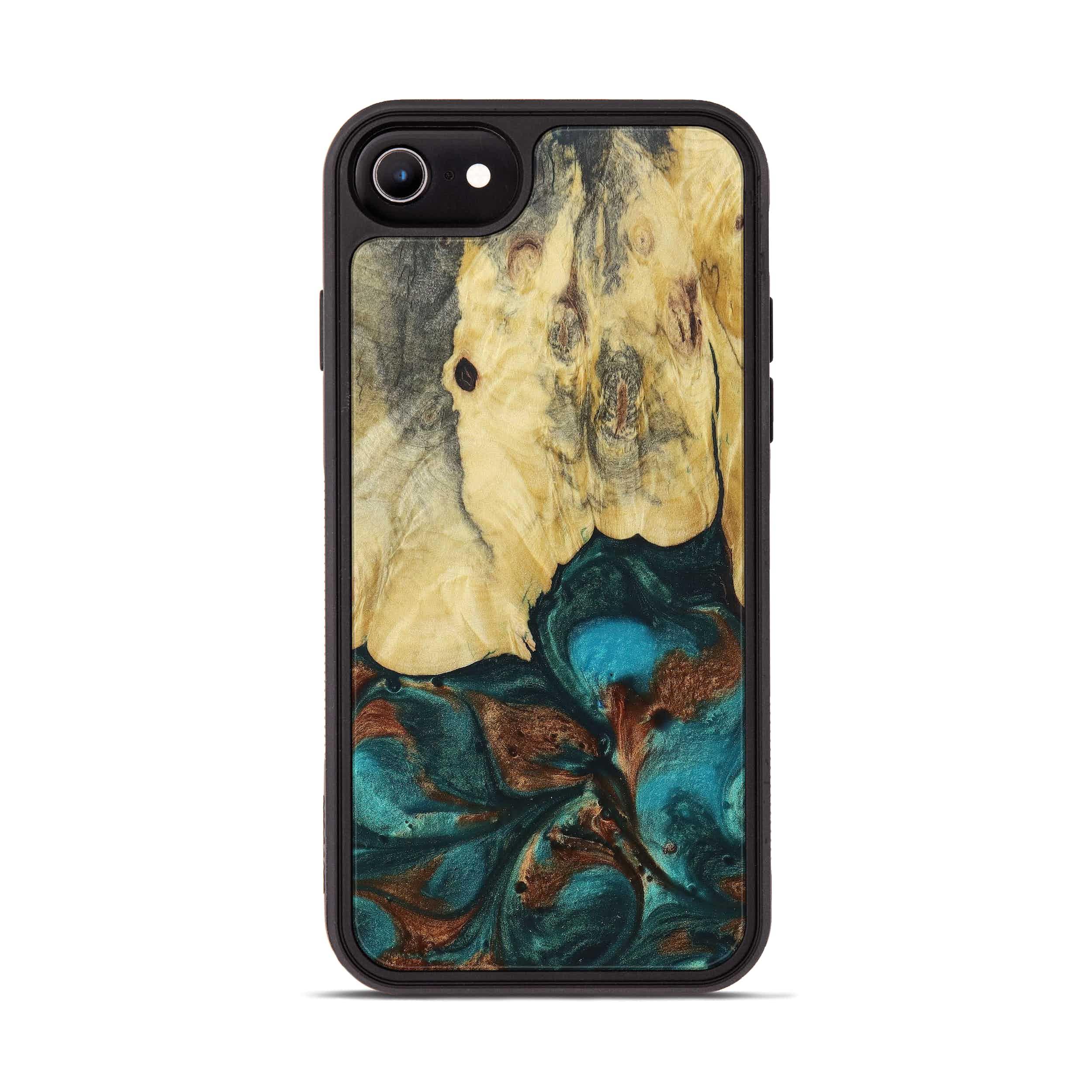 iPhone 8 Wood+Resin Phone Case - Karyl (Teal & Gold, 394387)