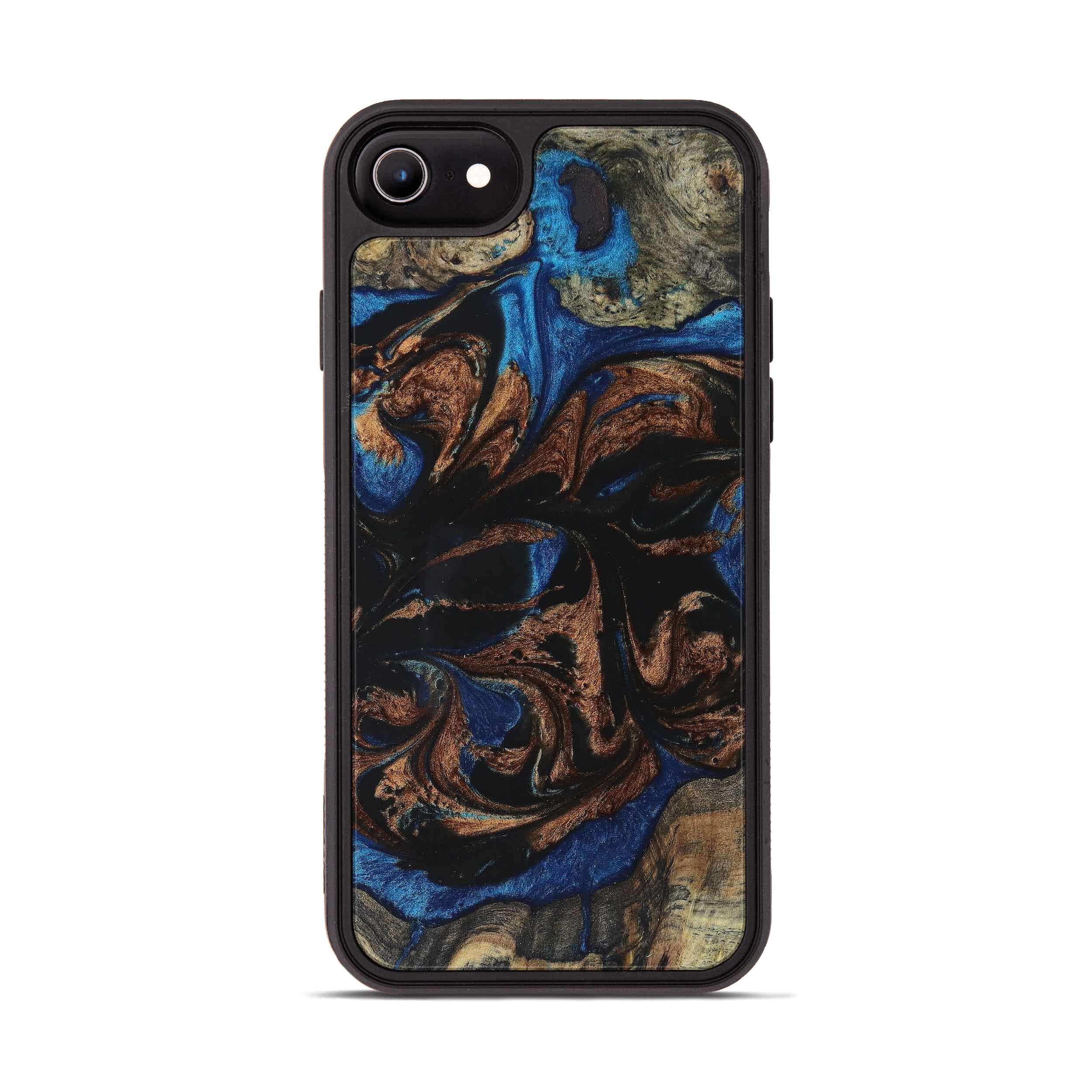iPhone 8 Wood+Resin Phone Case - Jillian (Teal & Gold, 394561)