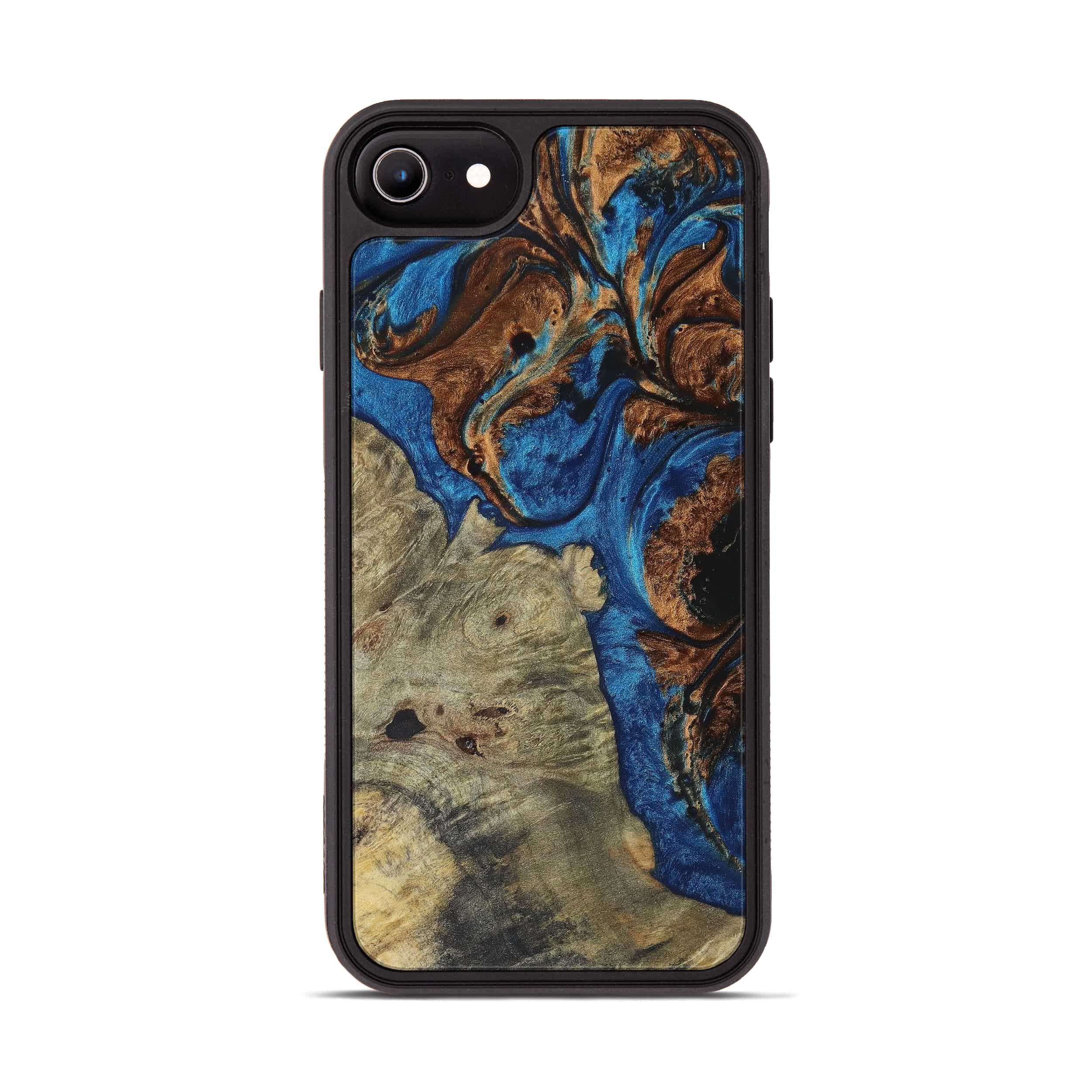 iPhone 8 Wood+Resin Phone Case - Pam (Teal & Gold, 394565)