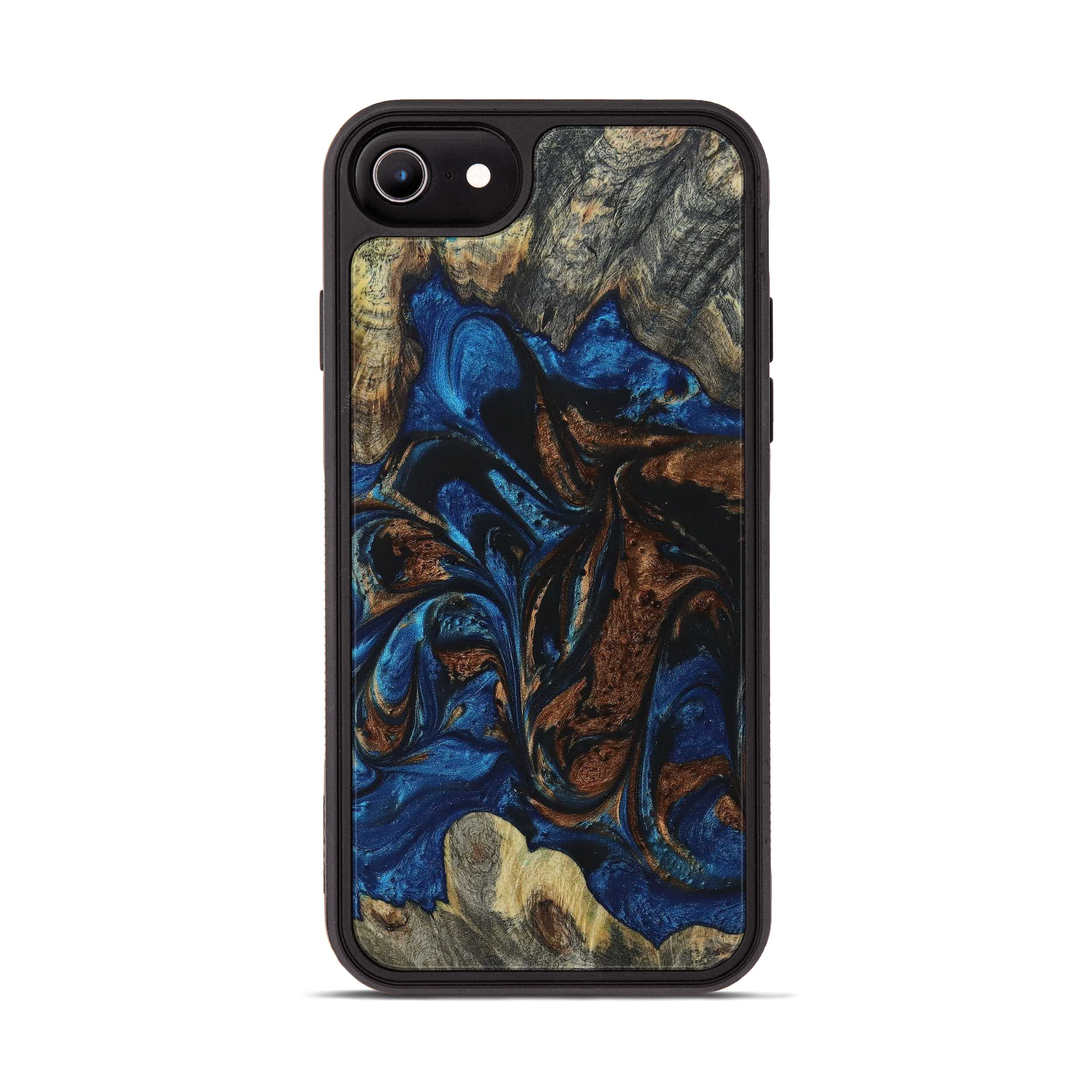 iPhone 8 Wood+Resin Phone Case - Lynnell (Teal & Gold, 394590)