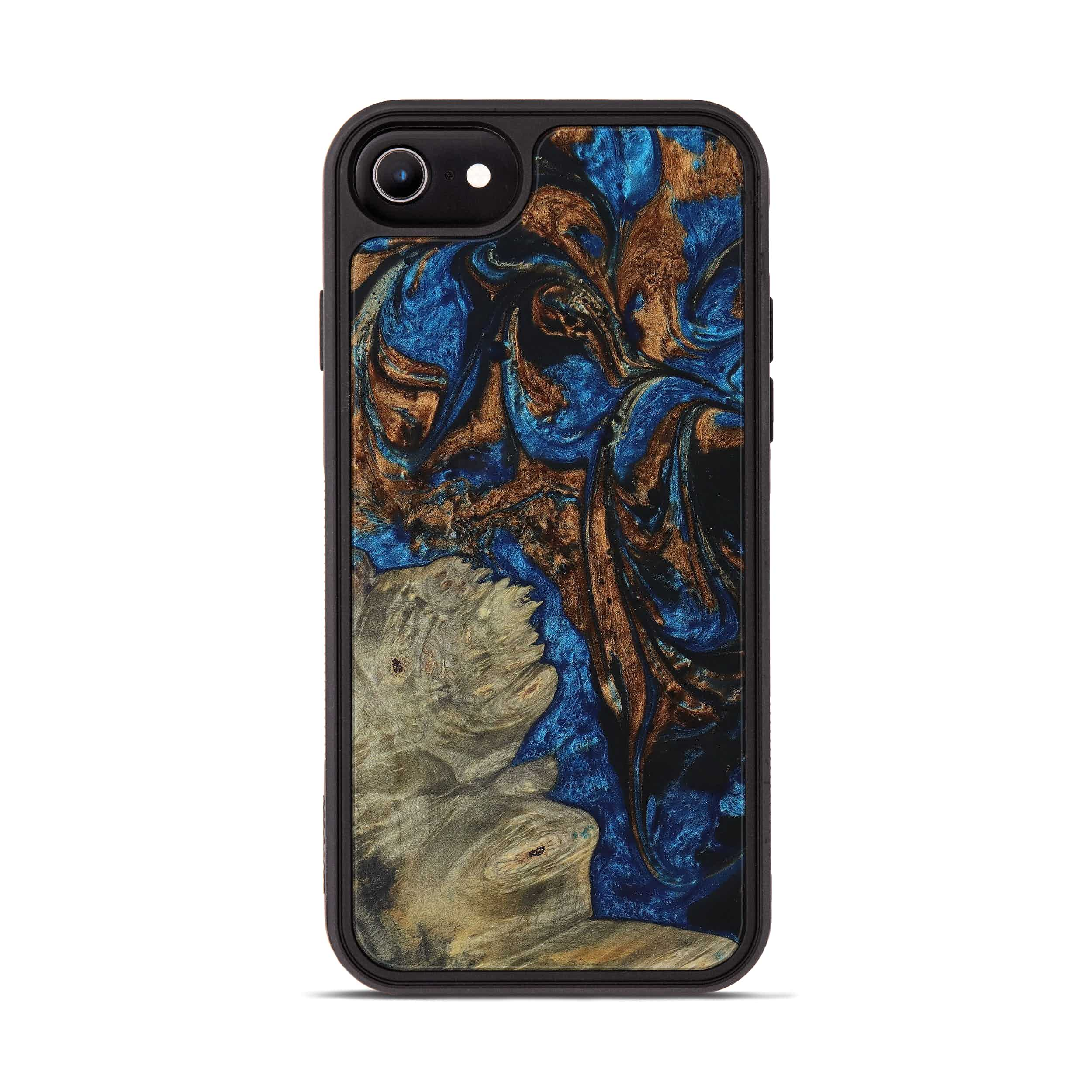 iPhone 8 Wood+Resin Phone Case - Nicolea (Teal & Gold, 394591)