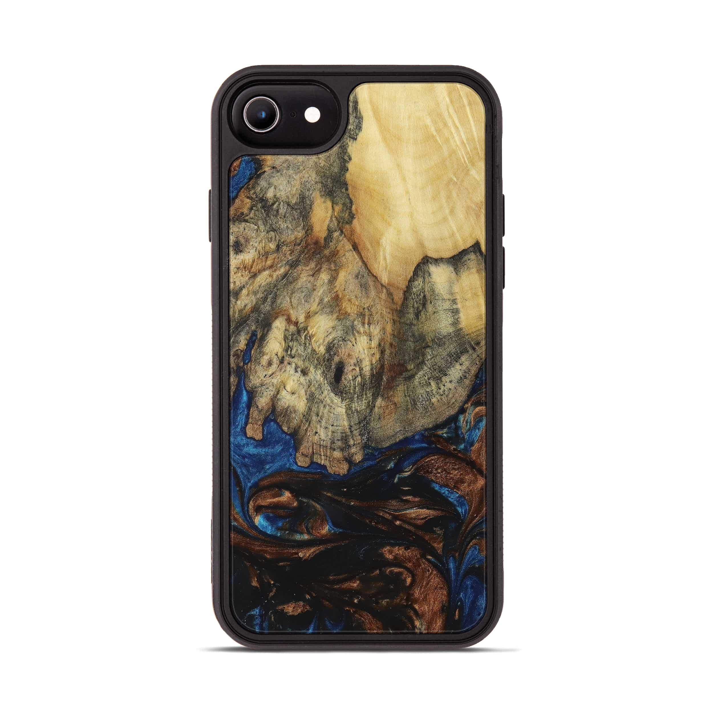 iPhone 8 Wood+Resin Phone Case - Rob (Teal & Gold, 394595)