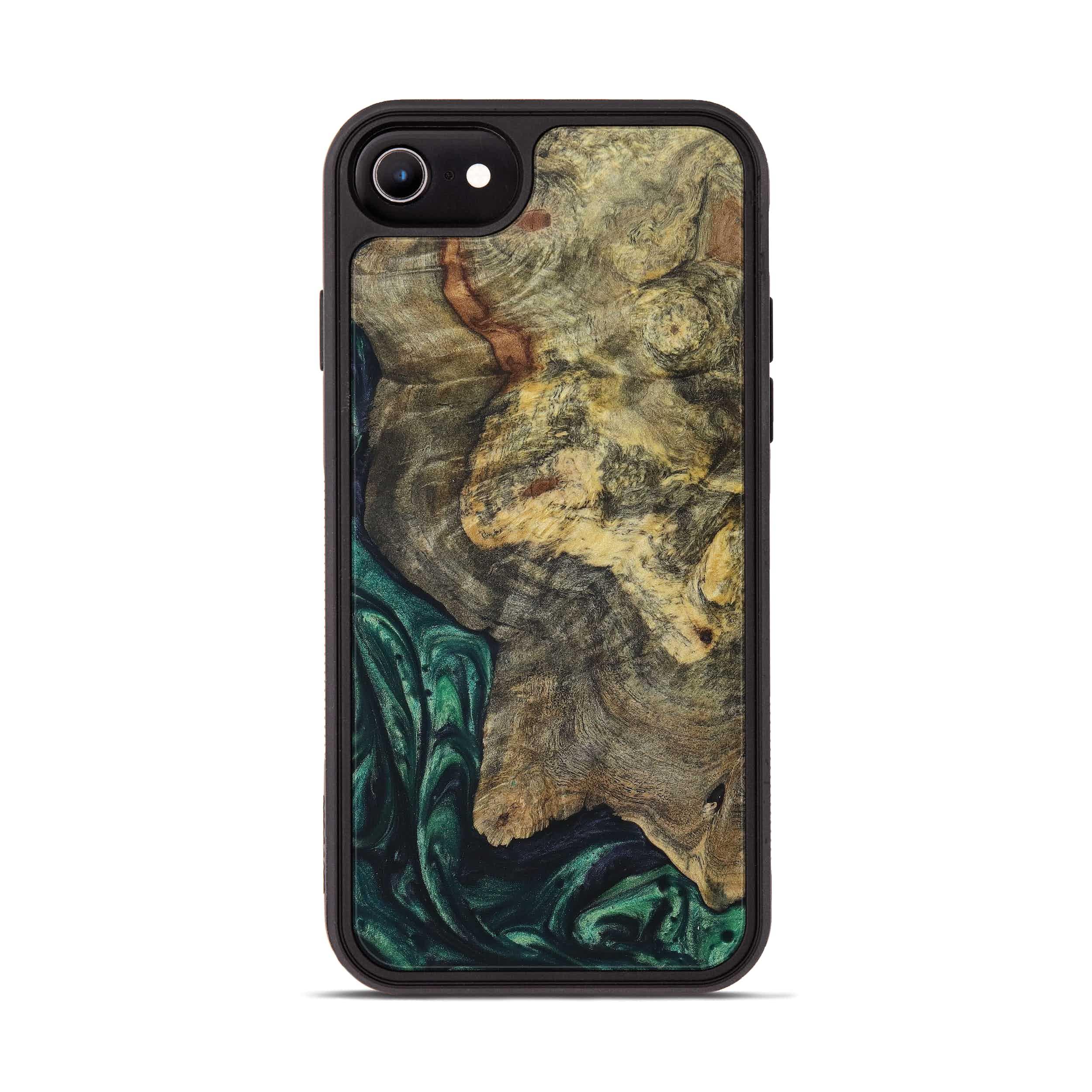 iPhone 8 Wood+Resin Phone Case - Clay (Dark Green, 394659)