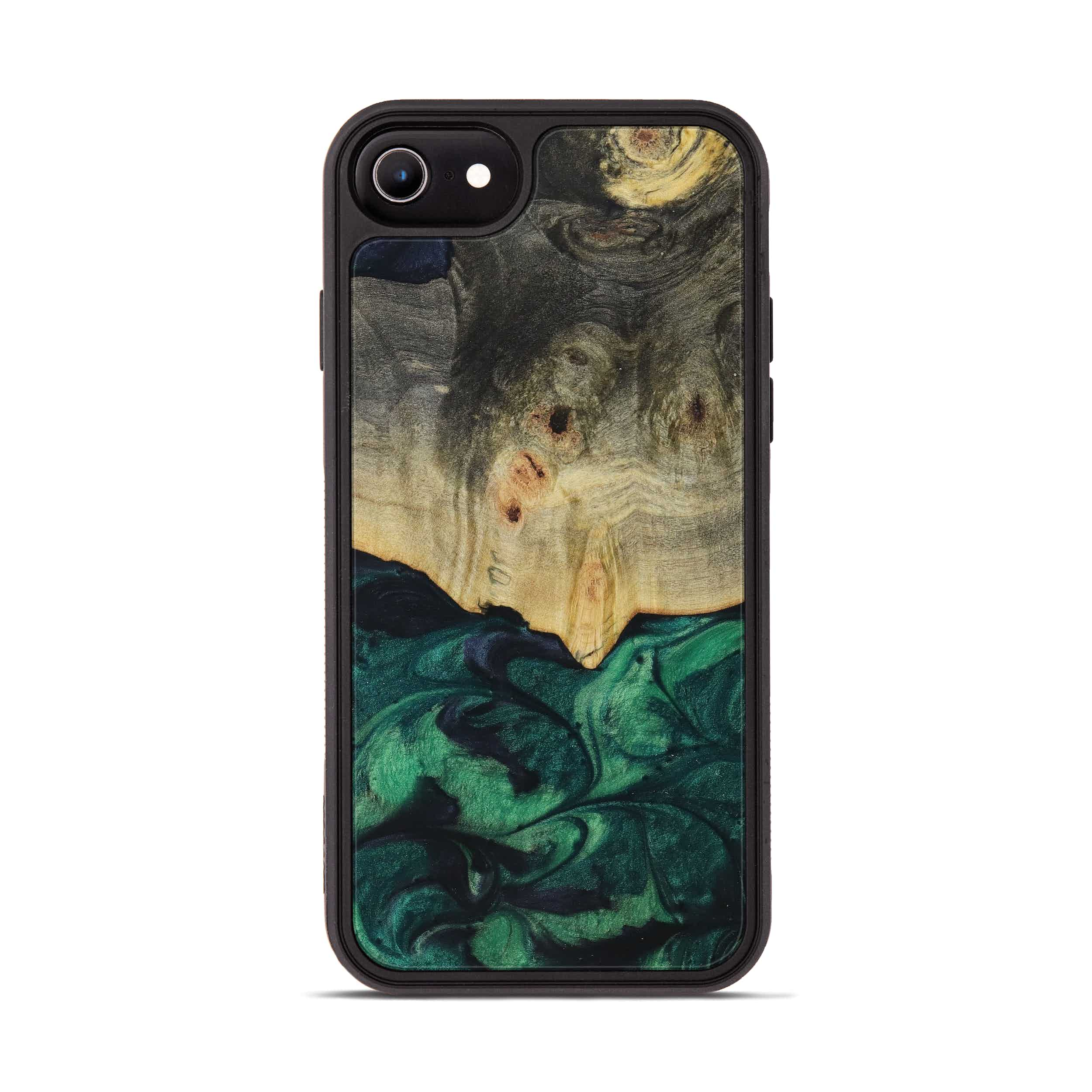 iPhone 8 Wood+Resin Phone Case - Ivo (Dark Green, 394669)