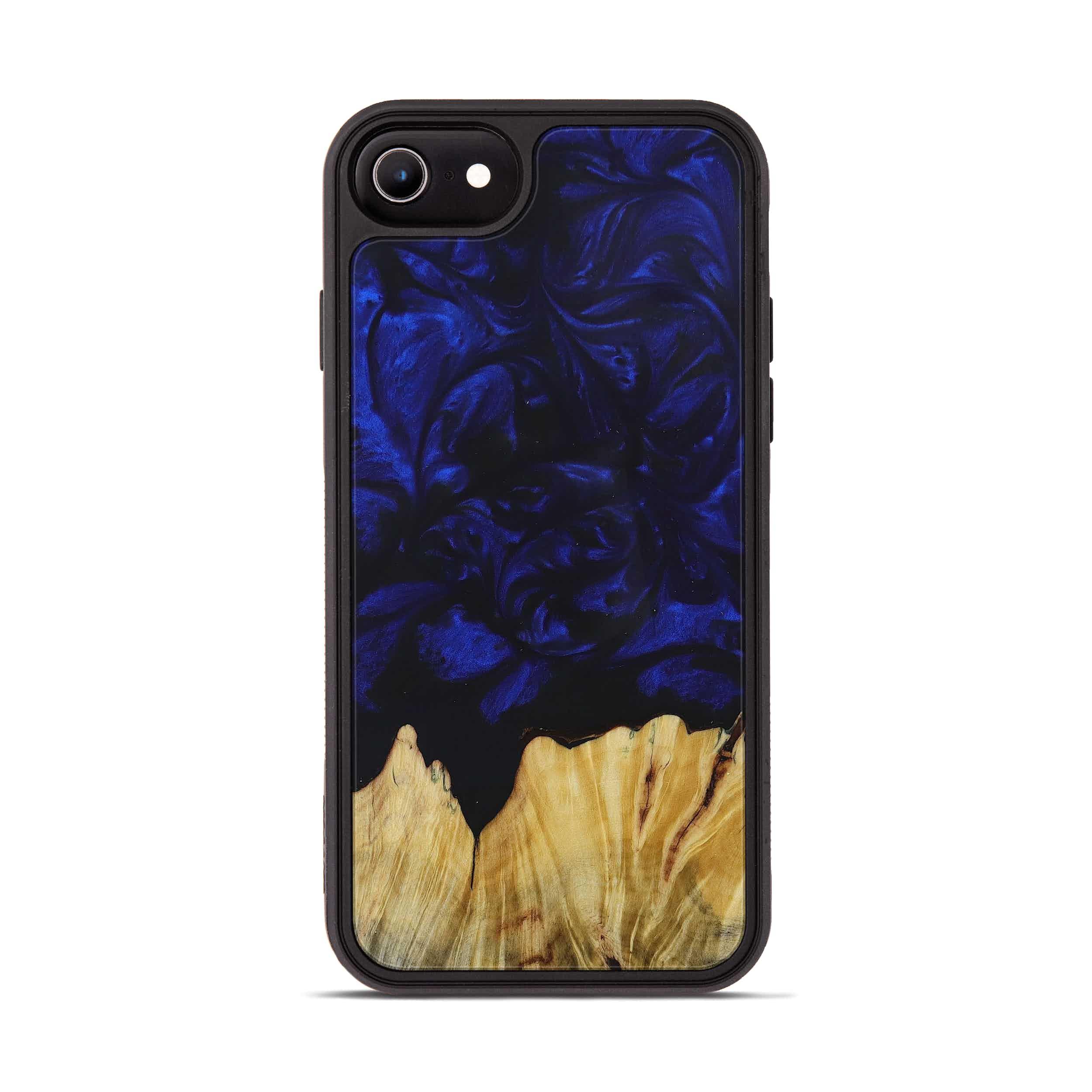 iPhone 8 Wood+Resin Phone Case - Jami (Dark Blue, 394677)