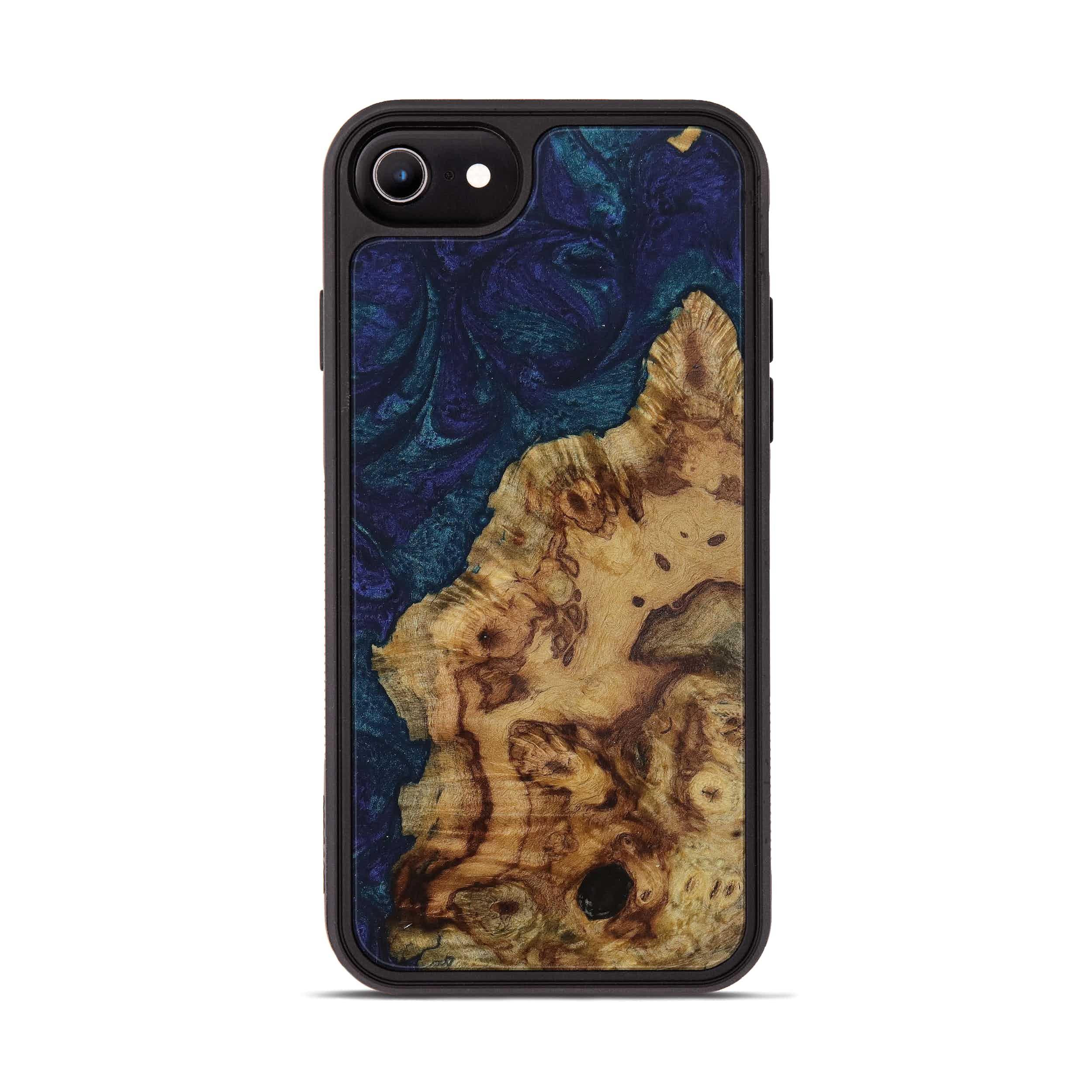 iPhone 8 Wood+Resin Phone Case - Carry (Dark Blue, 394713)