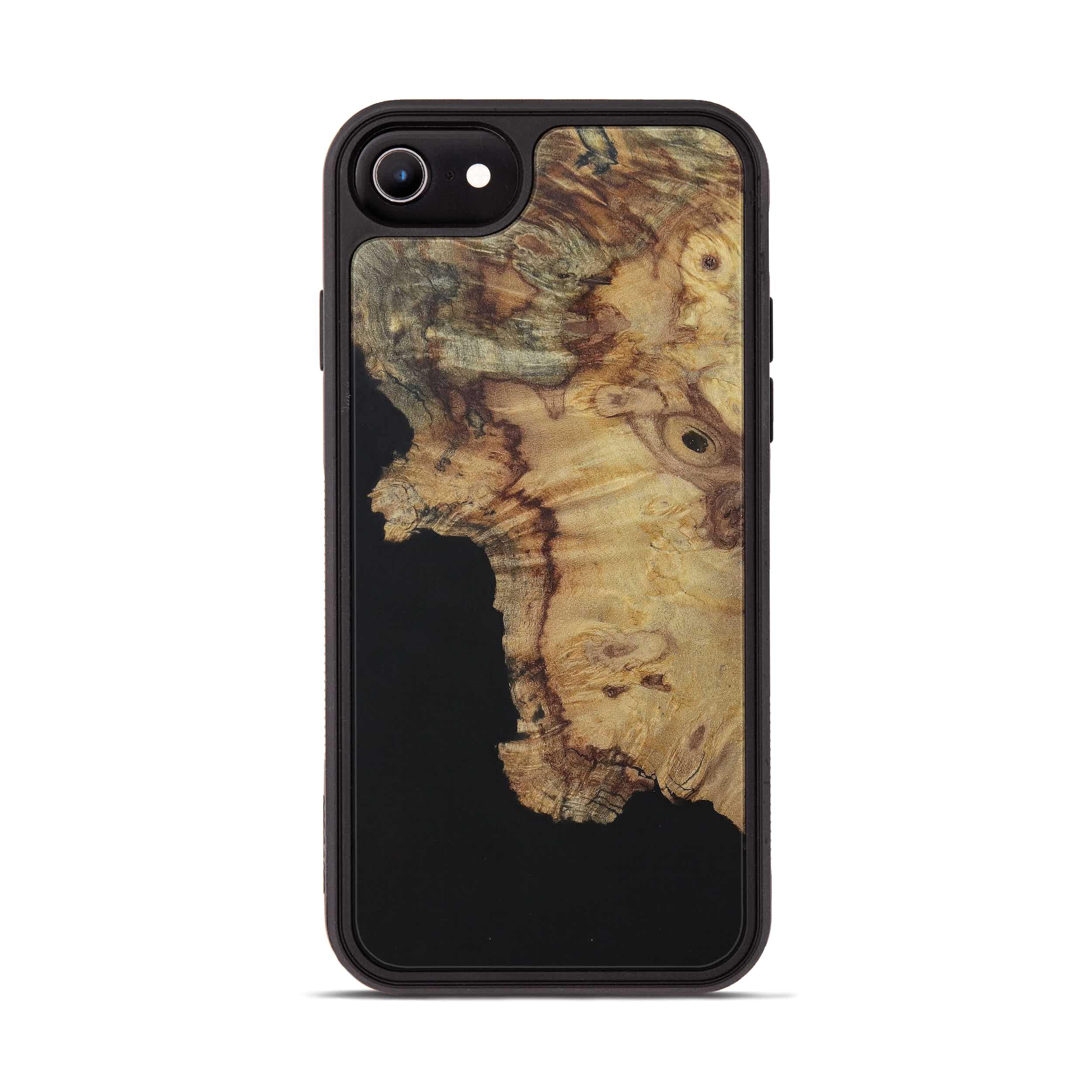iPhone 8 Wood+Resin Phone Case - Ryann (Pure Black, 394742)