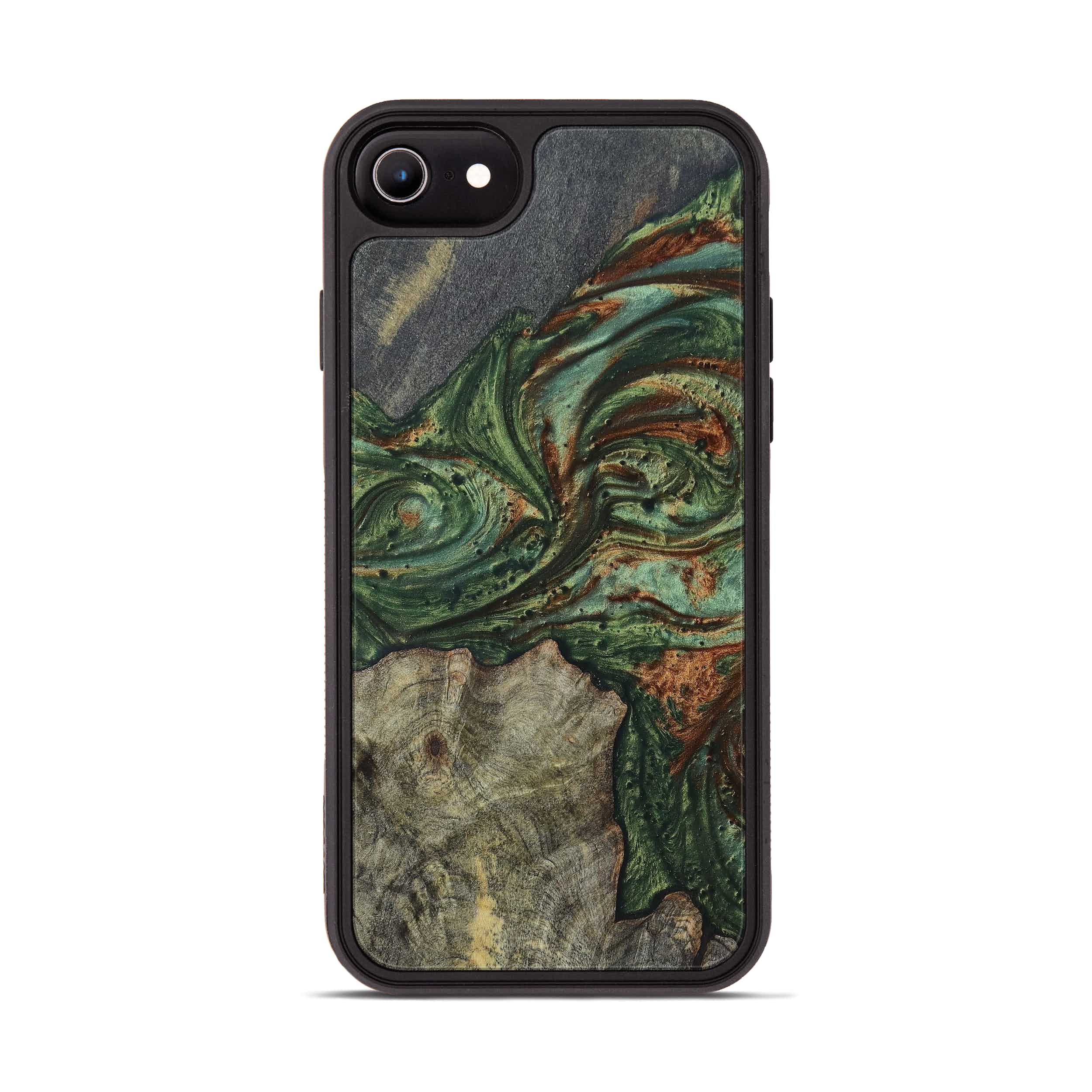iPhone 8 Wood+Resin Phone Case - Frederica (Dark Green, 394752)