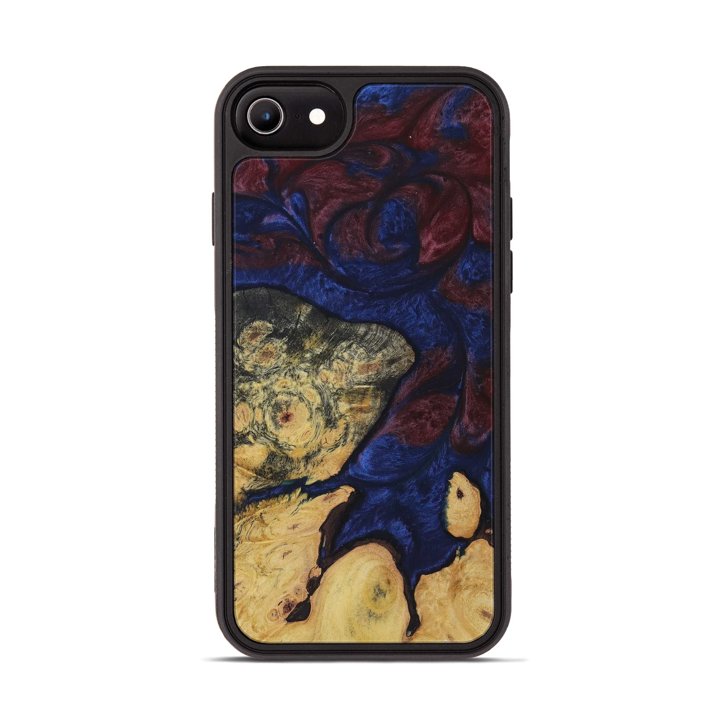 iPhone 8 Wood+Resin Phone Case - Prudy (Blue & Red, 394781)