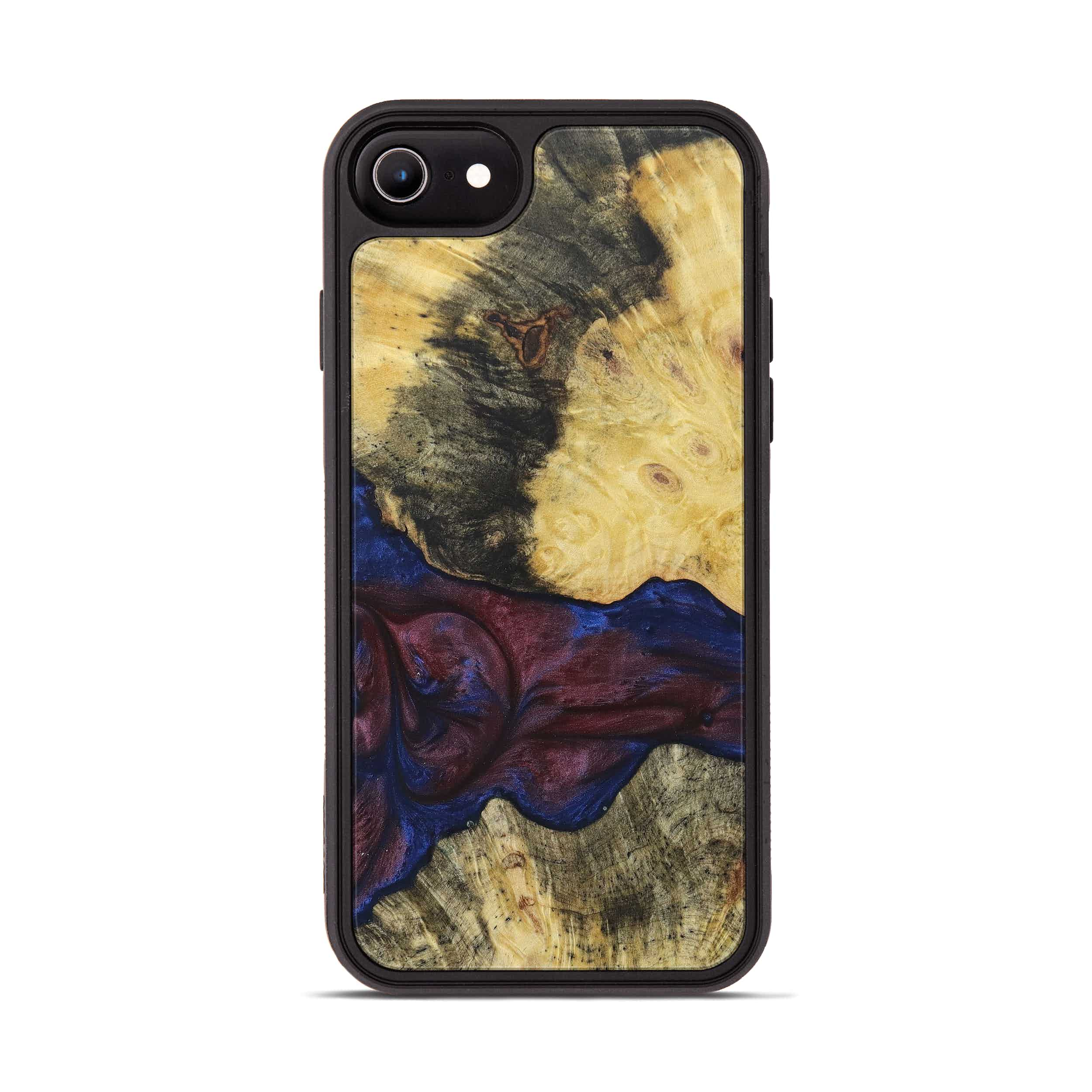 iPhone 8 Wood+Resin Phone Case - Nannette (Blue & Red, 394798)