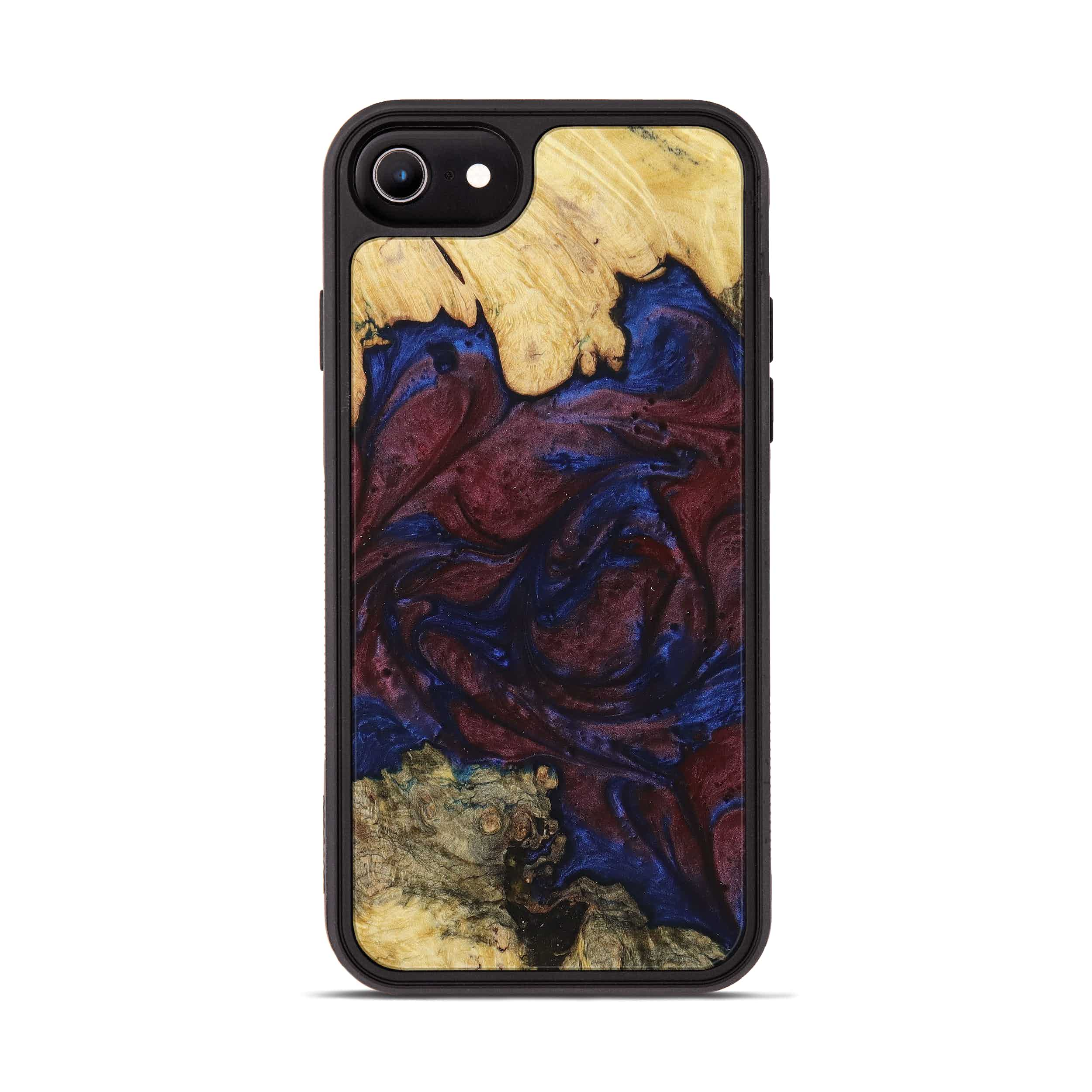 iPhone 8 Wood+Resin Phone Case - Asnat (Blue & Red, 394803)
