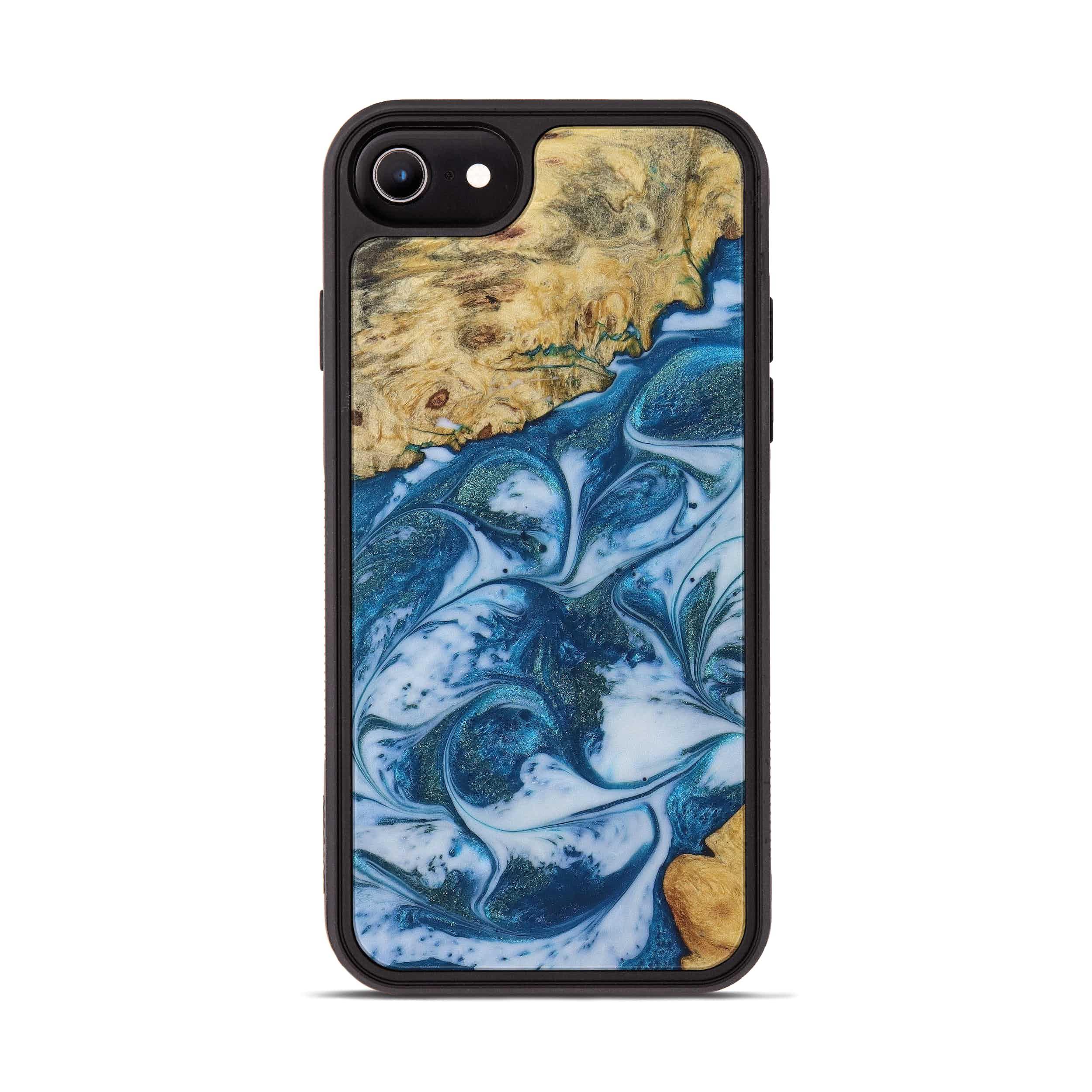 iPhone 8 Wood+Resin Phone Case - Sonya (Light Blue, 394820)