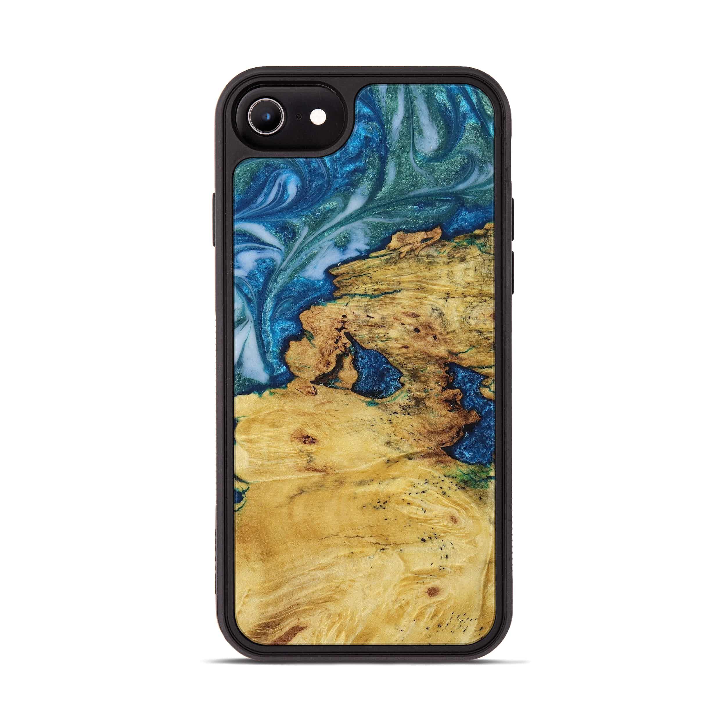 iPhone 8 Wood+Resin Phone Case - Henrietta (Light Blue, 394833)