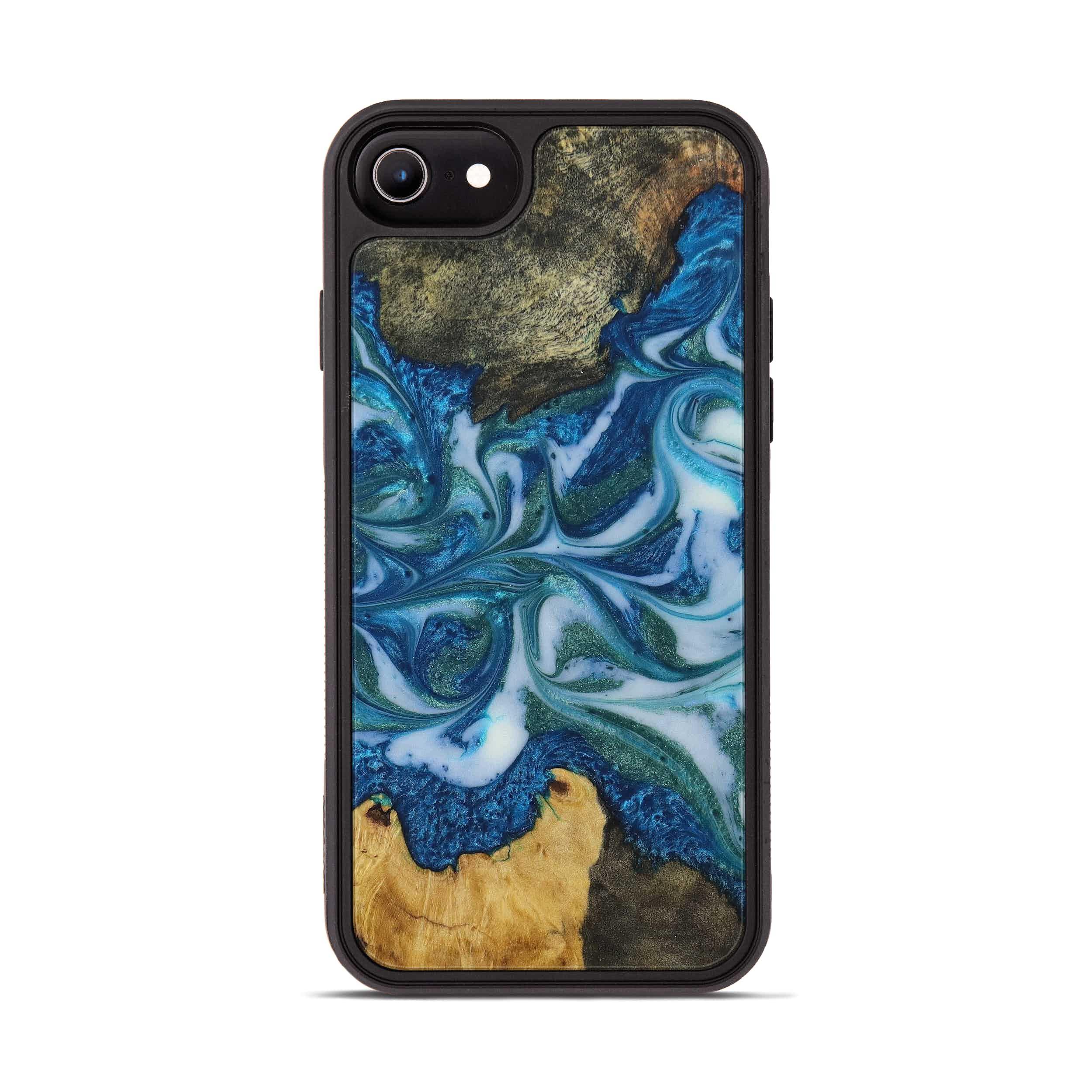 iPhone 8 Wood+Resin Phone Case - Shedman (Light Blue, 394834)