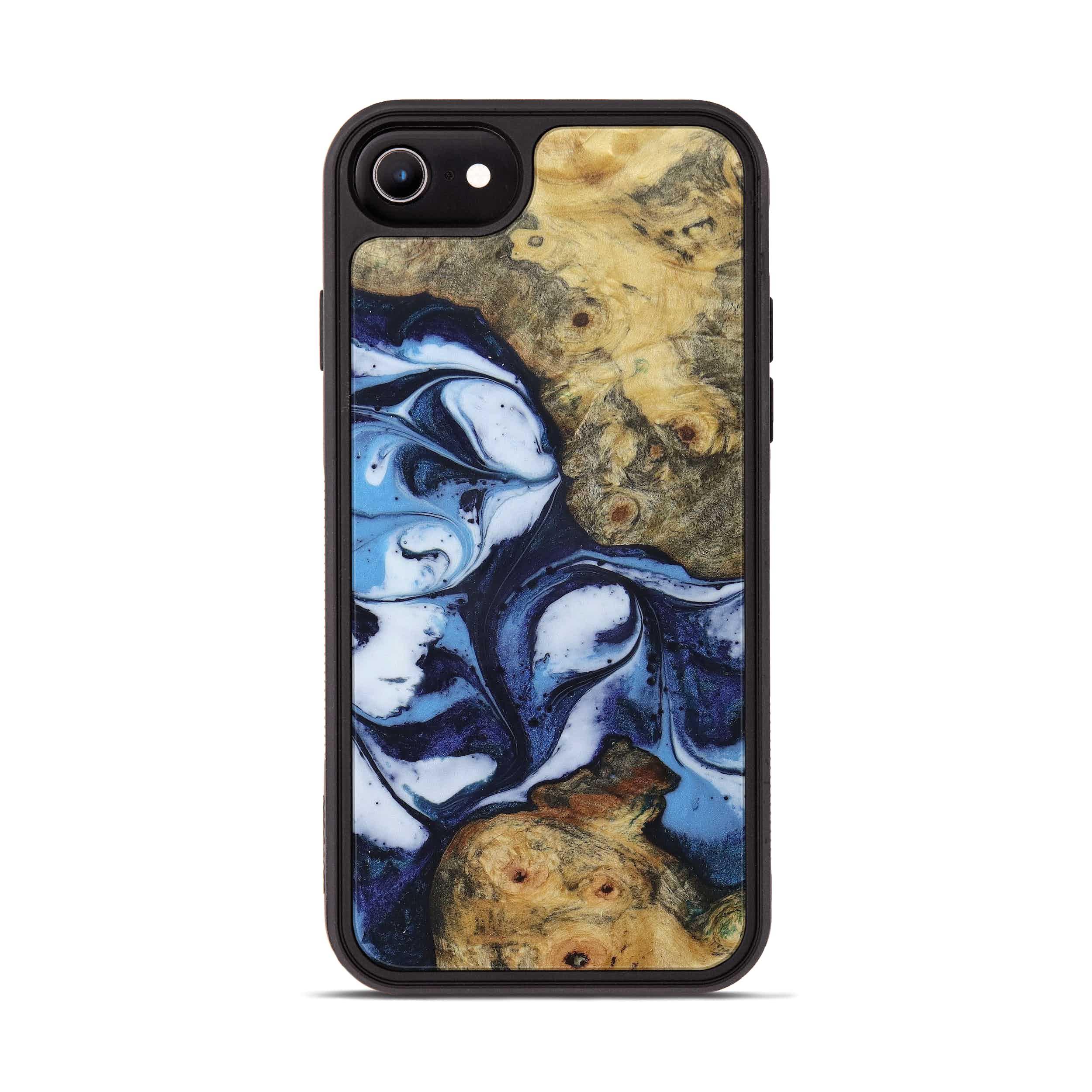 iPhone 8 Wood+Resin Phone Case - Midge (Dark Blue, 394889)