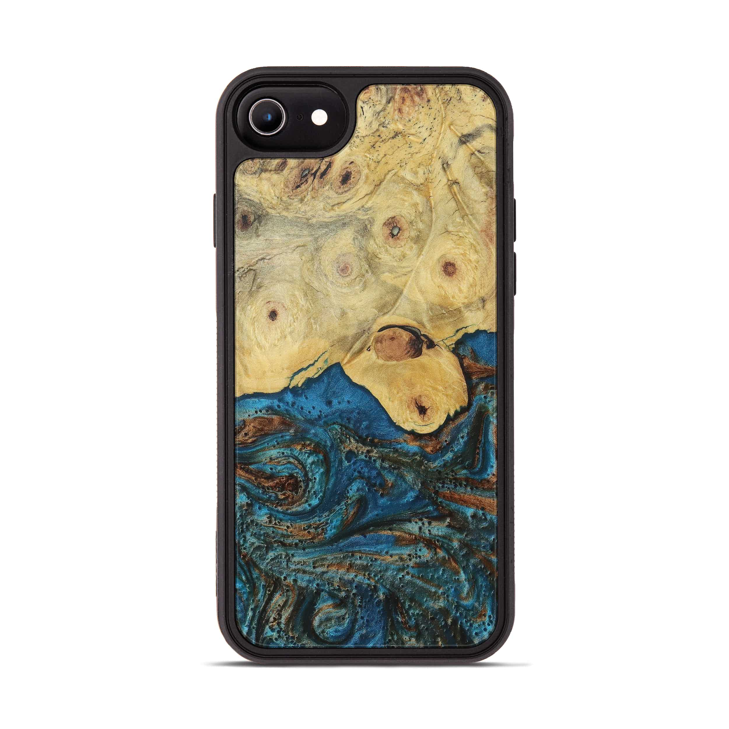 iPhone 8 Wood+Resin Phone Case - Tom (Teal & Gold, 394931)
