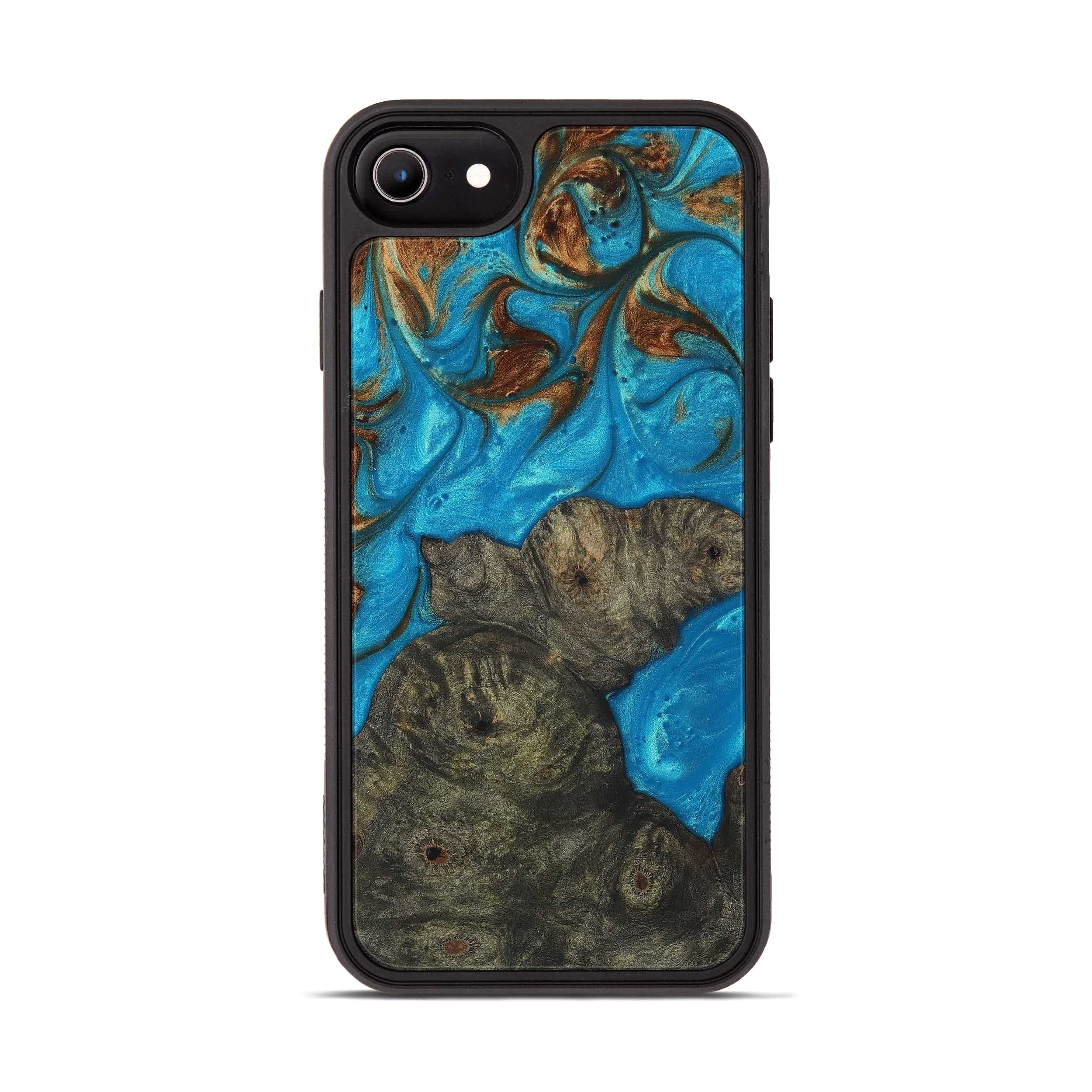 iPhone 6s Wood+Resin Phone Case - Junina (Teal & Gold, 397232)