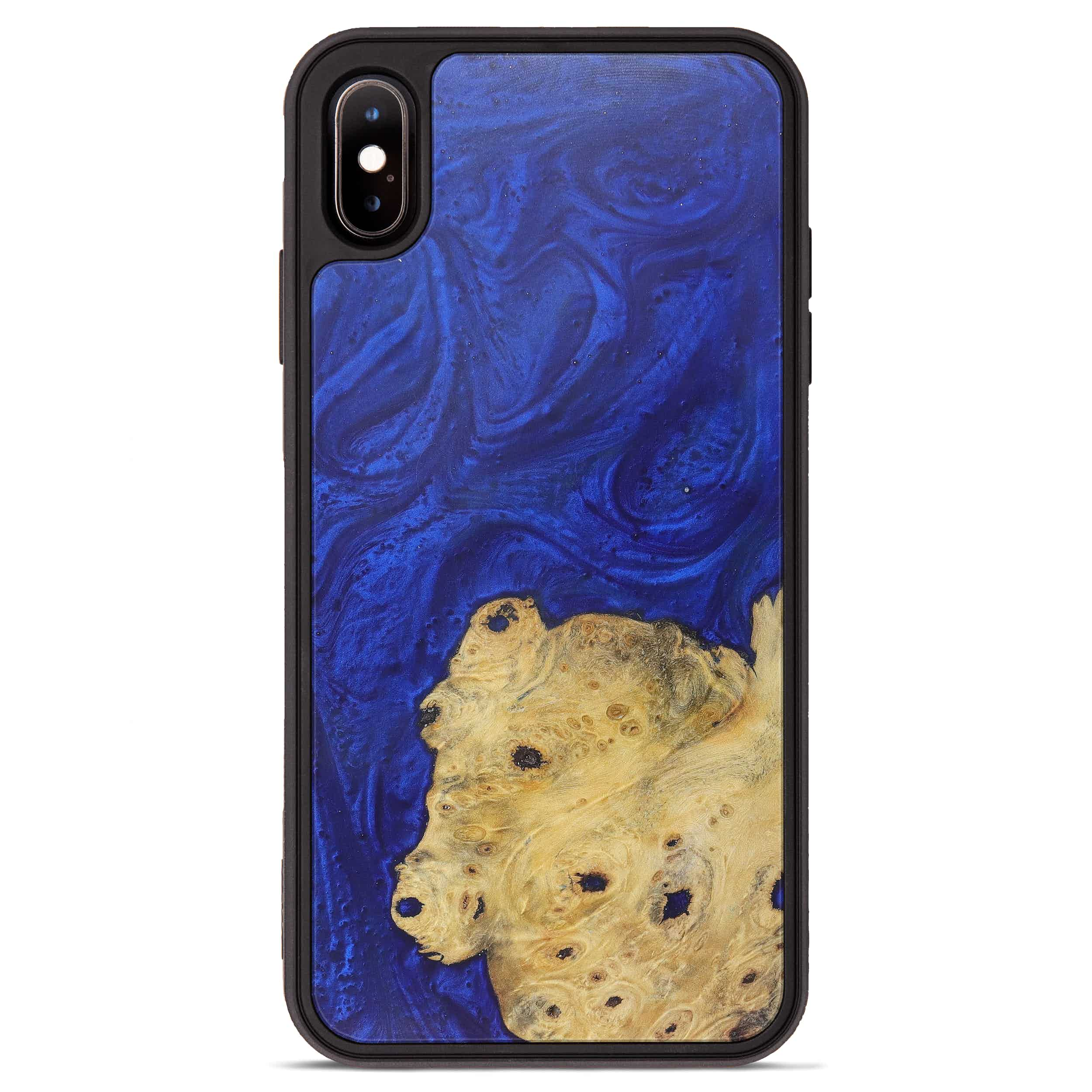 iPhone Xs Max Wood+Resin Phone Case - Dung (Dark Blue, 365971)