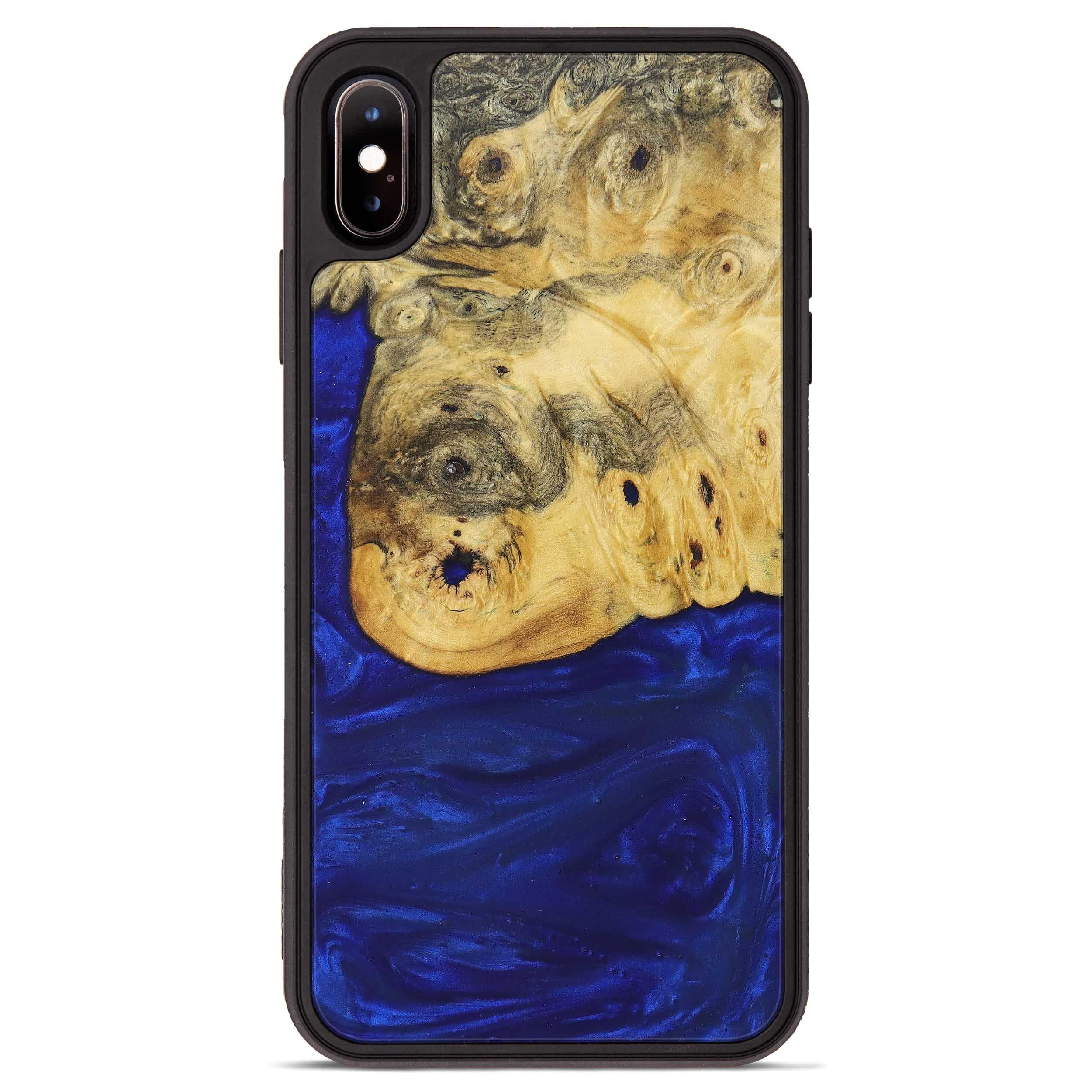 iPhone Xs Max Wood+Resin Phone Case - Loni (Dark Blue, 367198)
