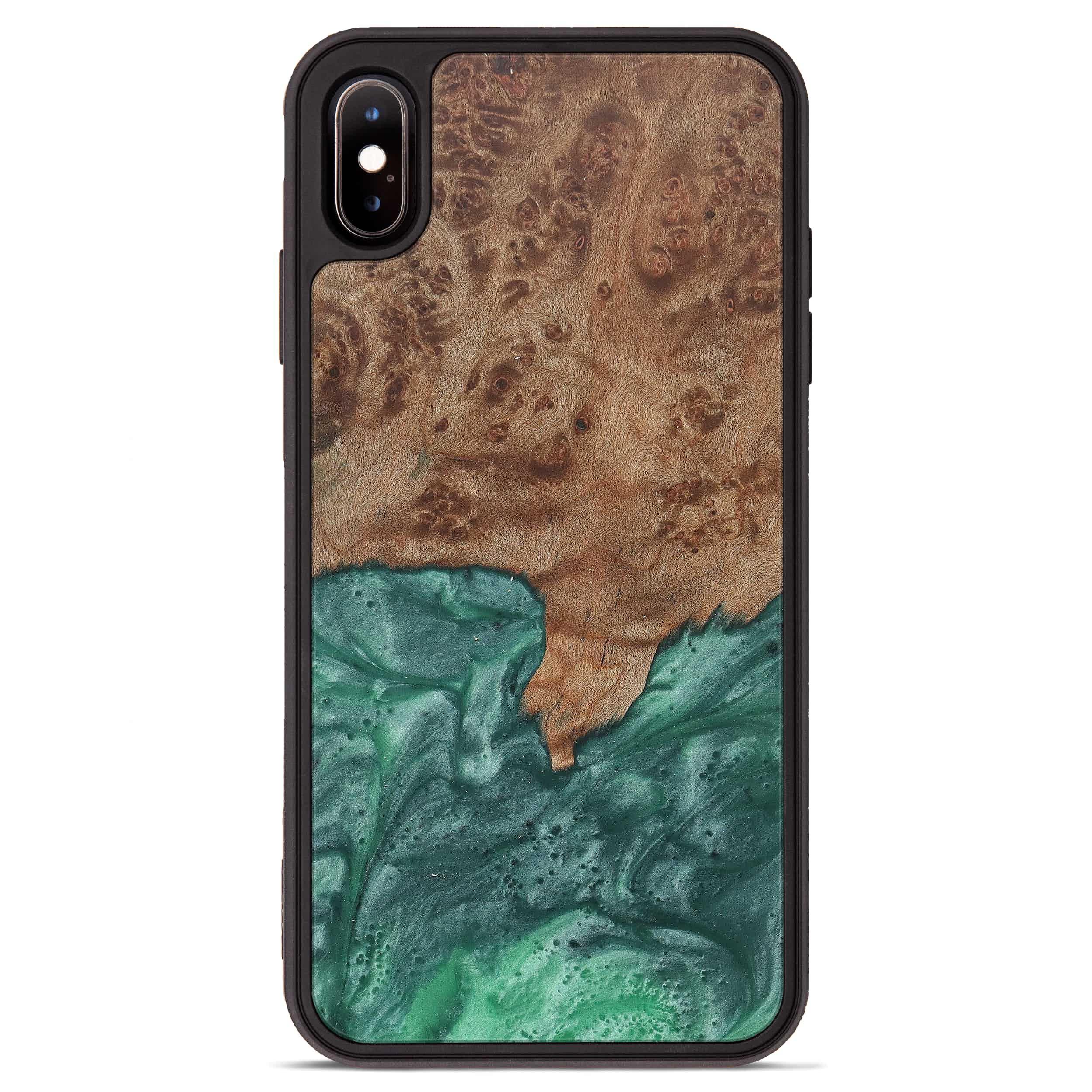 iPhone Xs Max Wood+Resin Phone Case - Koko (Dark Green, 374560)