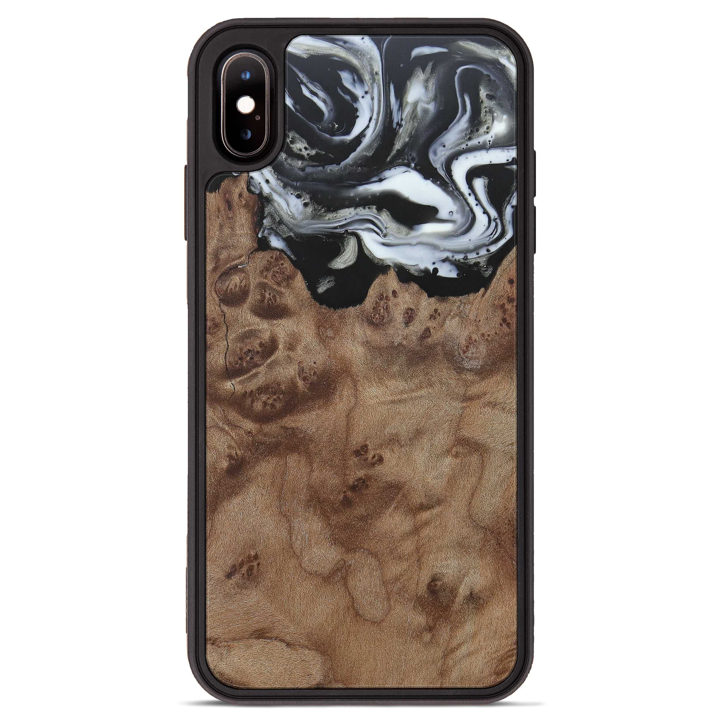iPhone Xs Max Wood+Resin Phone Case - Emmey (Black & White, 385906)