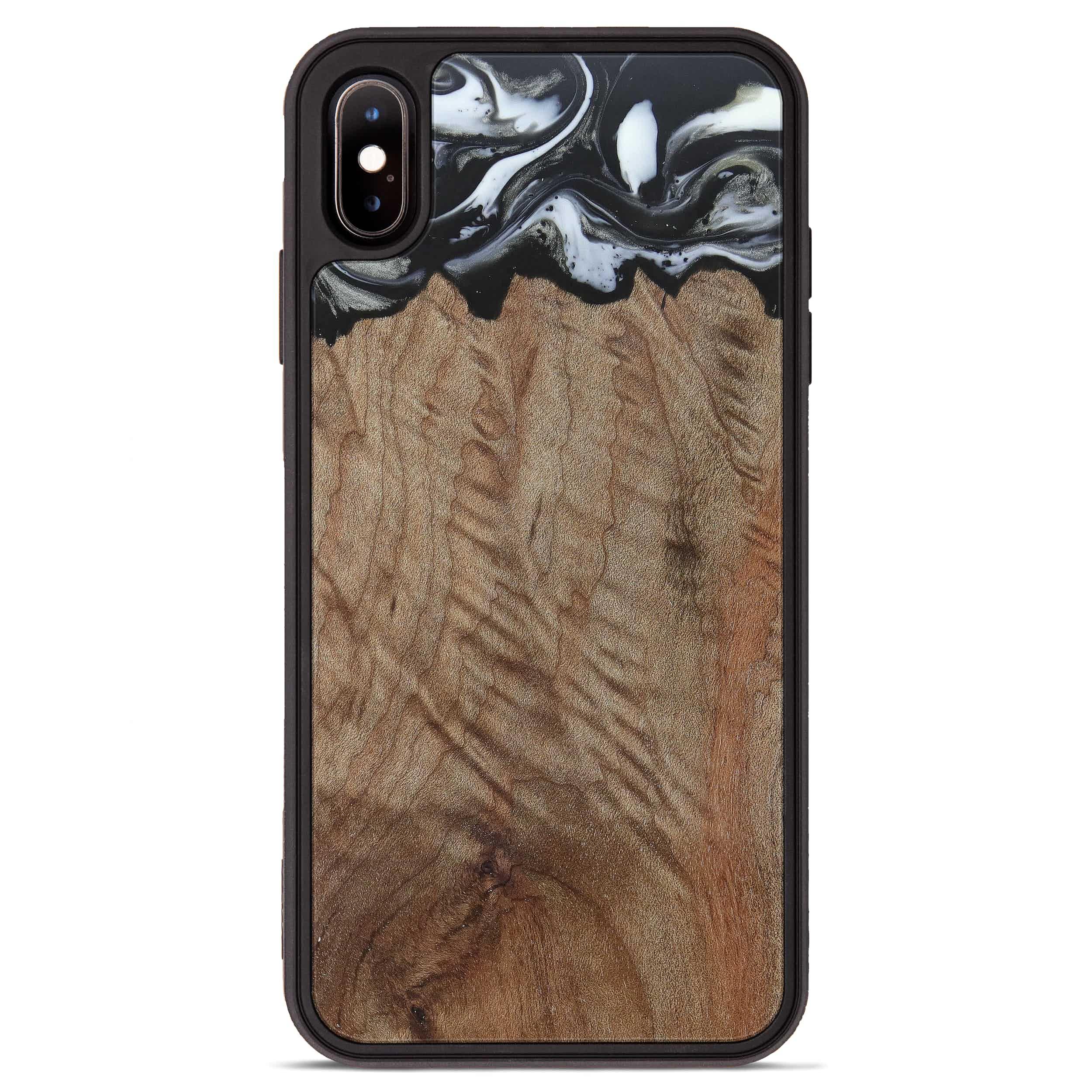iPhone Xs Max Wood+Resin Phone Case - Kiem (Black & White, 385907)