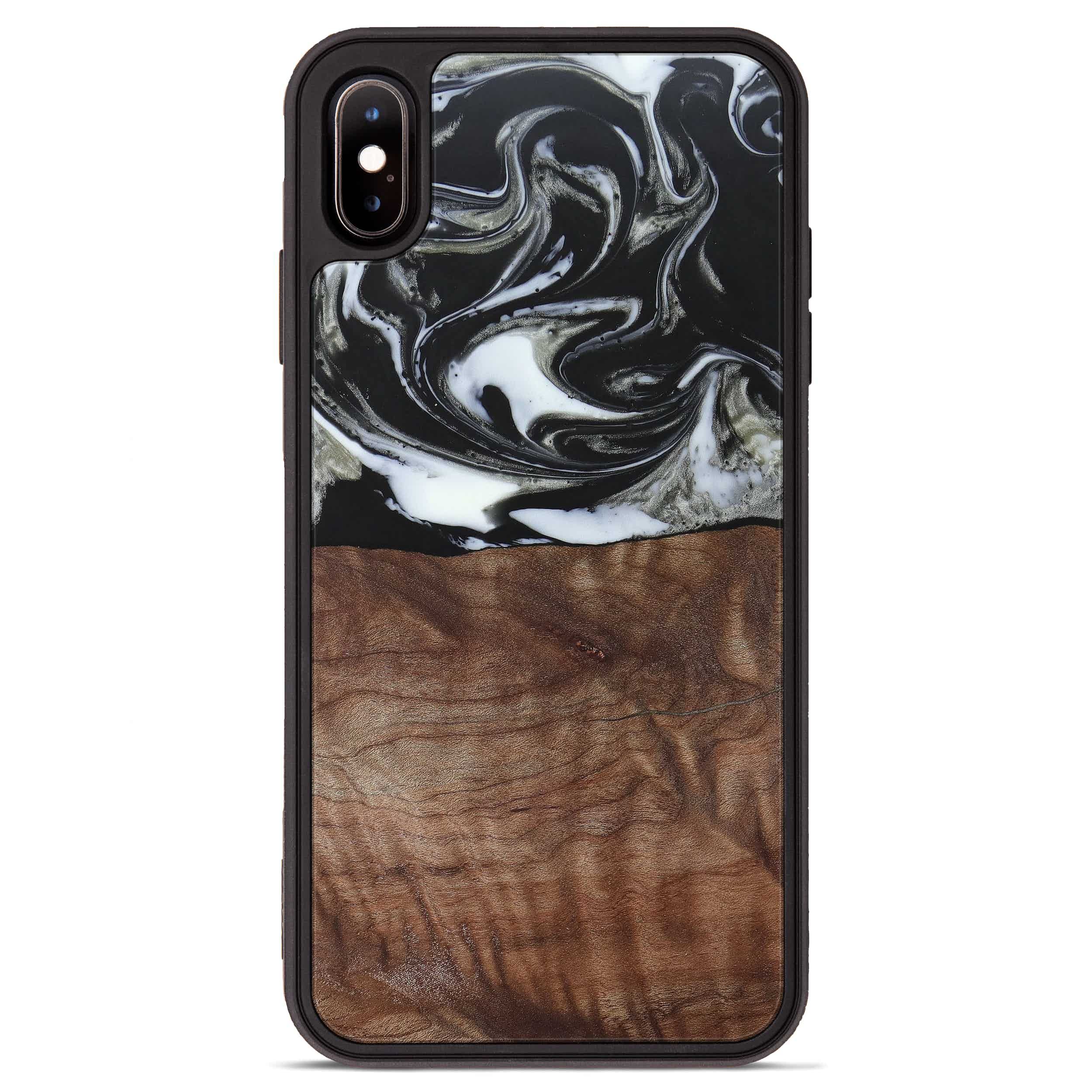 iPhone Xs Max Wood+Resin Phone Case - Issie (Black & White, 385924)