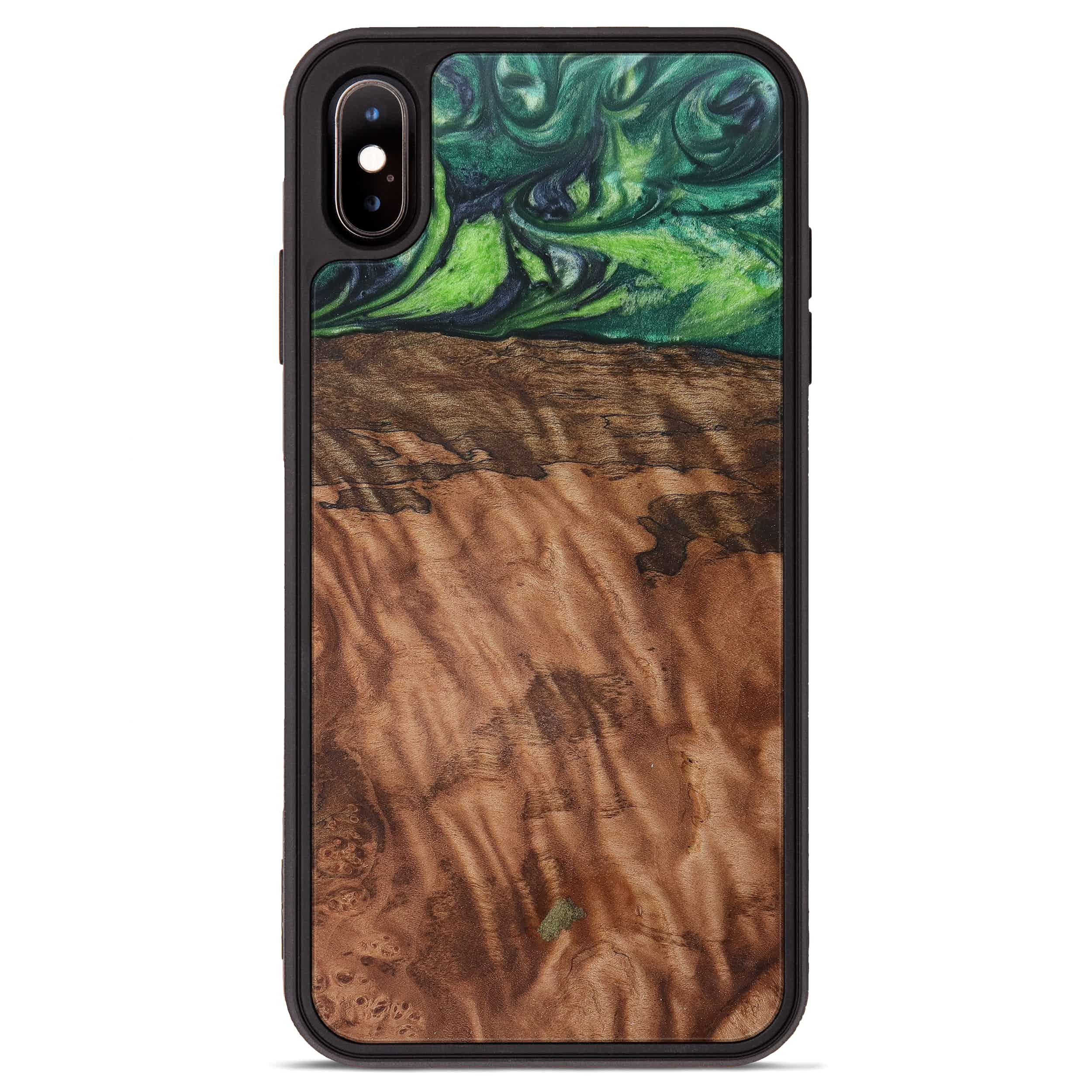 iPhone Xs Max Wood+Resin Phone Case - Shelton (Dark Green, 387357)