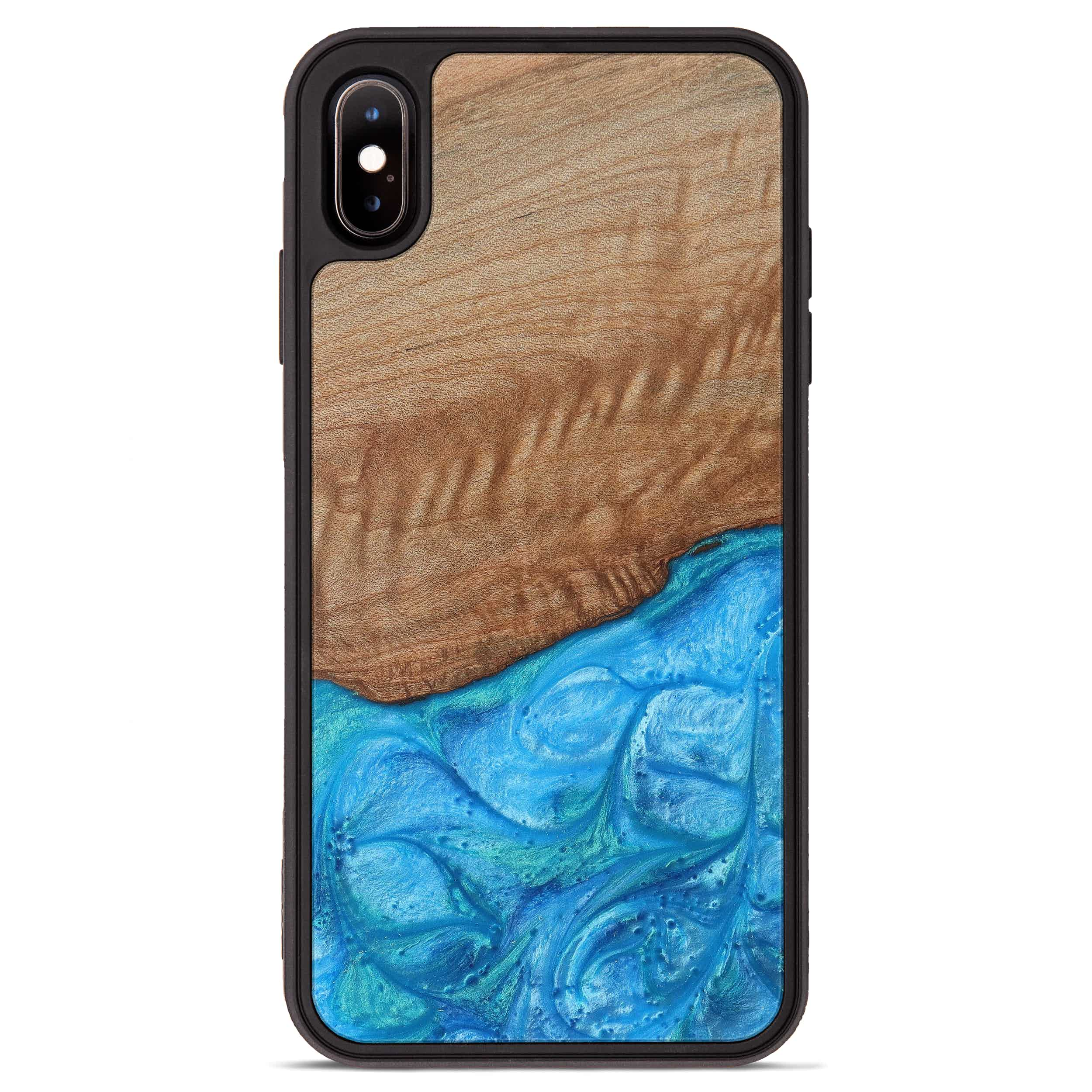 iPhone Xs Max Wood+Resin Phone Case - Nicole (Light Blue, 387683)