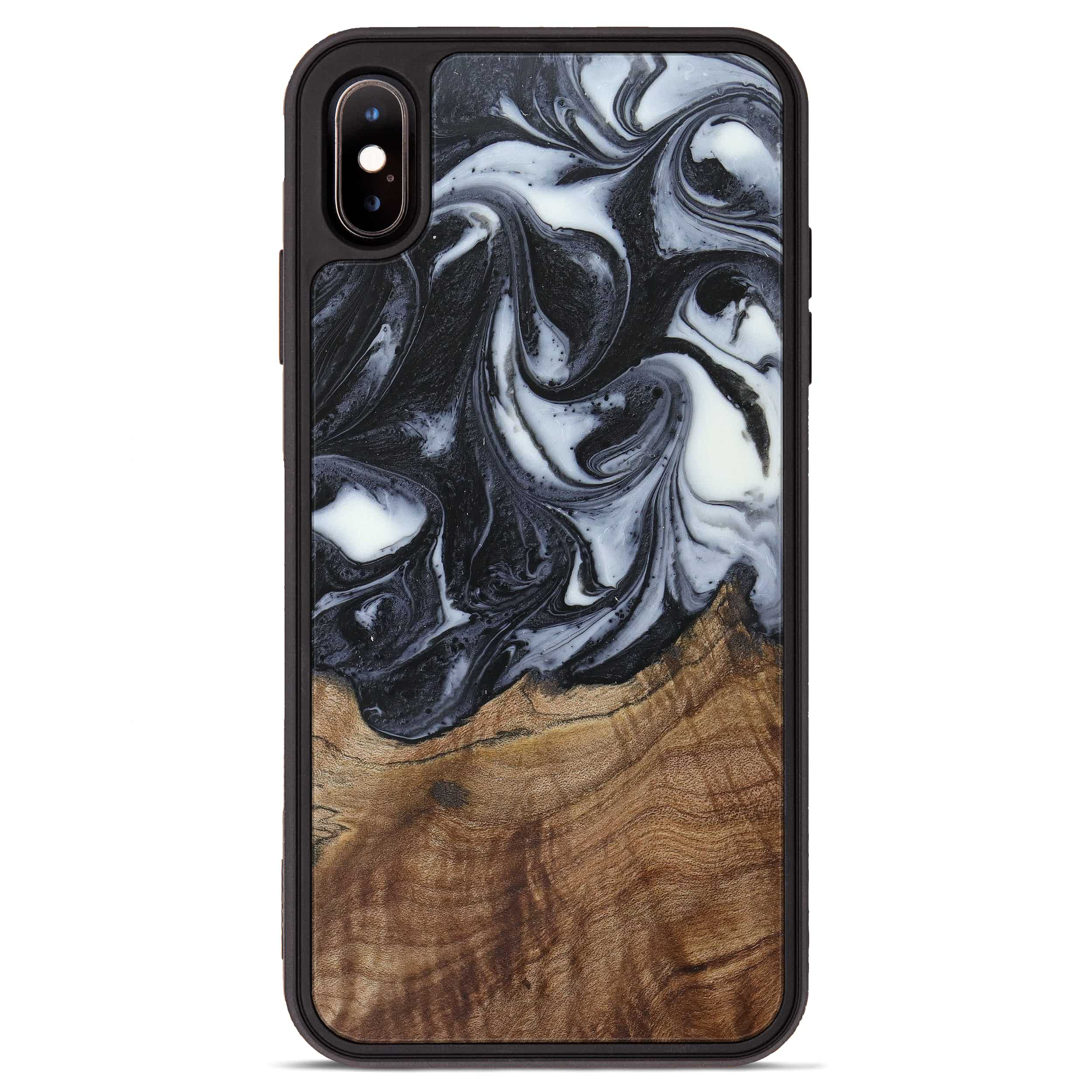iPhone Xs Max Wood+Resin Phone Case - Christie (Black & White, 388765)