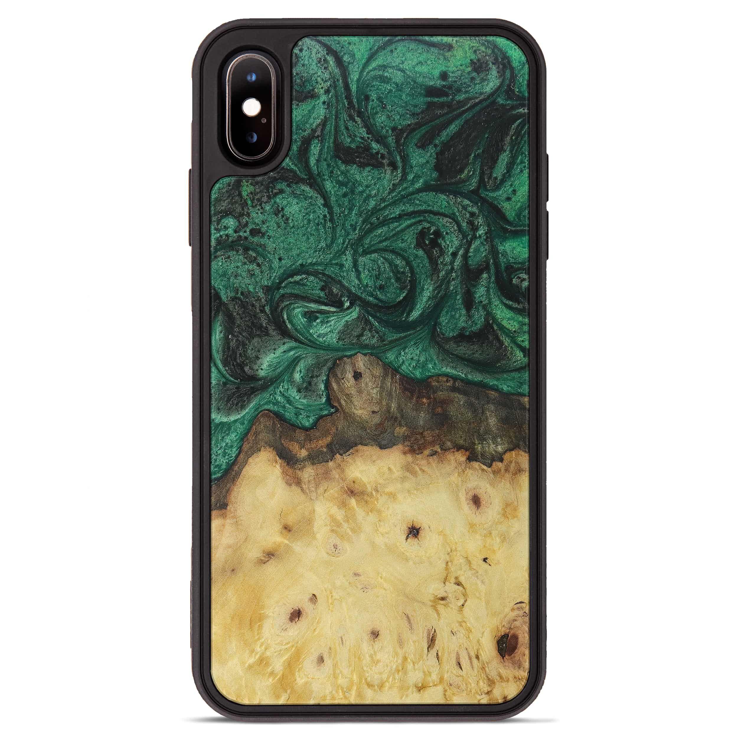 iPhone Xs Max Wood+Resin Phone Case - Luis (Dark Green, 390591)