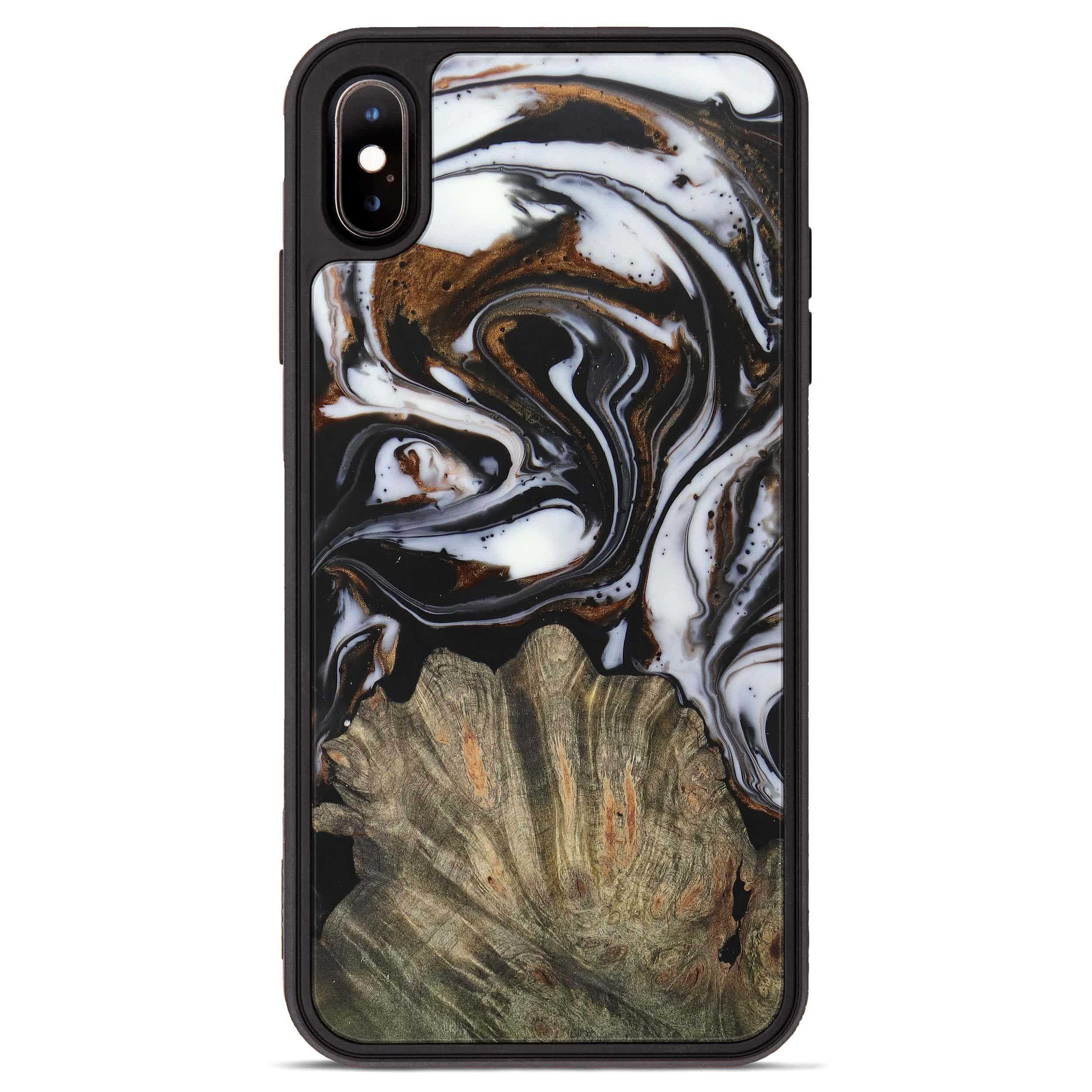 iPhone Xs Max Wood+Resin Phone Case - Lynnelle (Black & White, 390664)