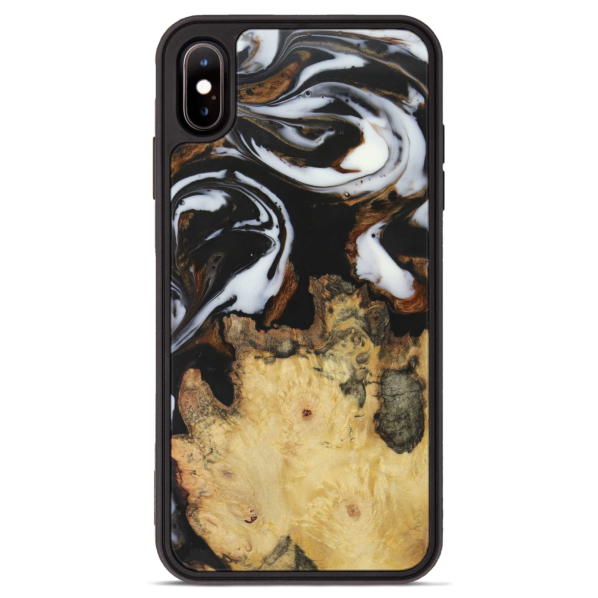iPhone Xs Max Wood+Resin Phone Case - Cate (Black & White, 390667)