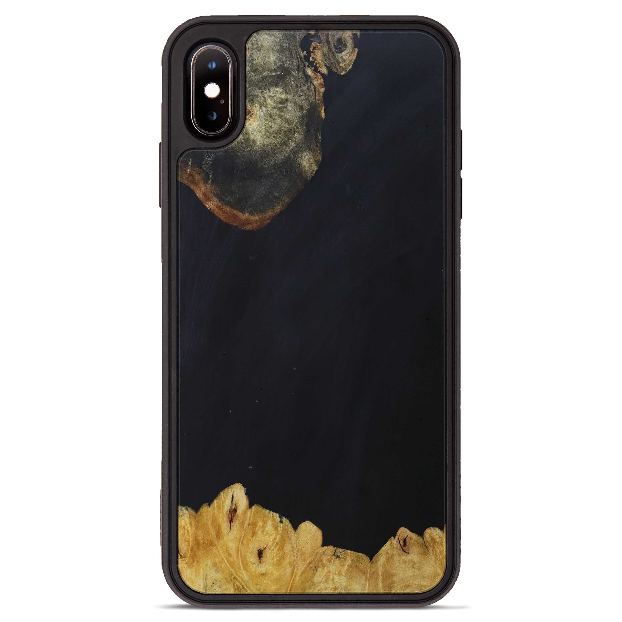 iPhone Xs Max Wood+Resin Phone Case - Steffane (Pure Black, 393220)